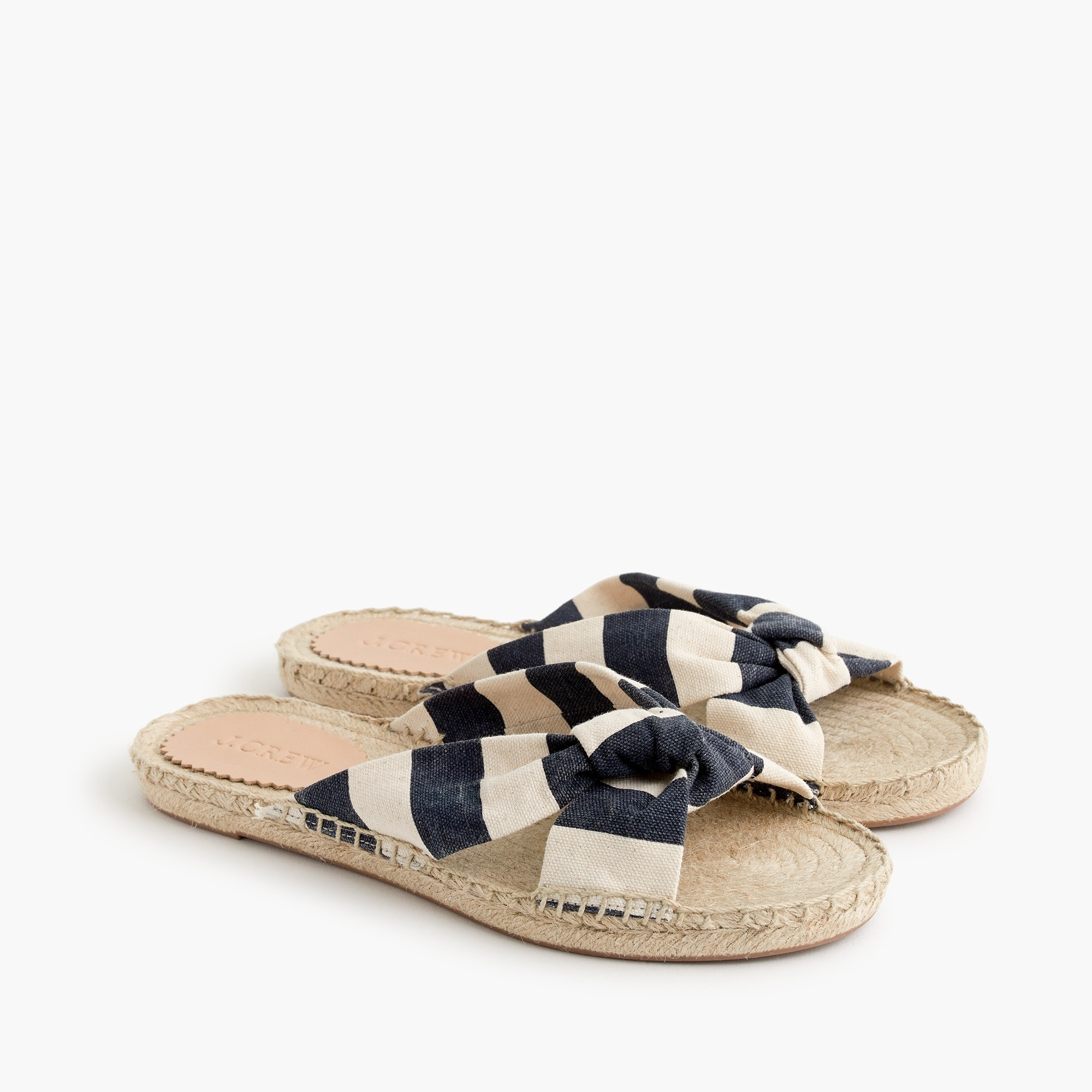 women's knotted espadrille slides in stripe - women's sandals