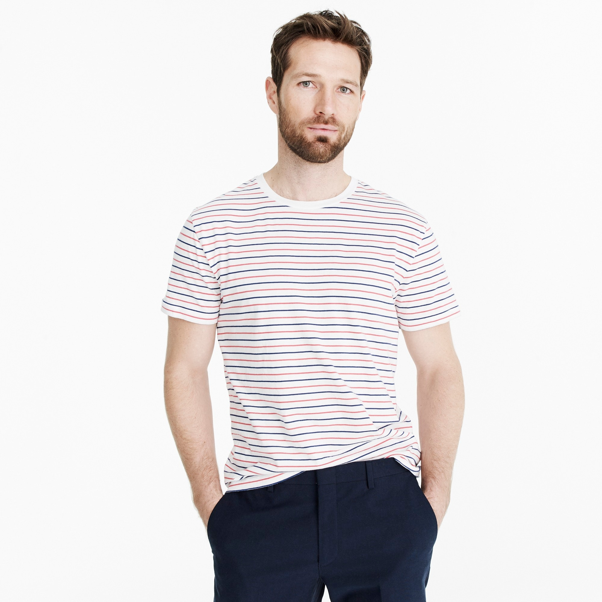 Image 1 for Tall J.Crew Mercantile Broken-in T-shirt in seaside stripe