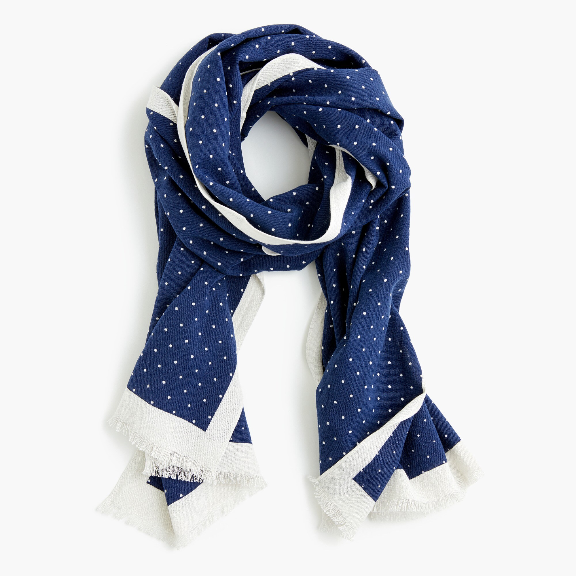 Lightweight cotton scarf in dot print men accessories c