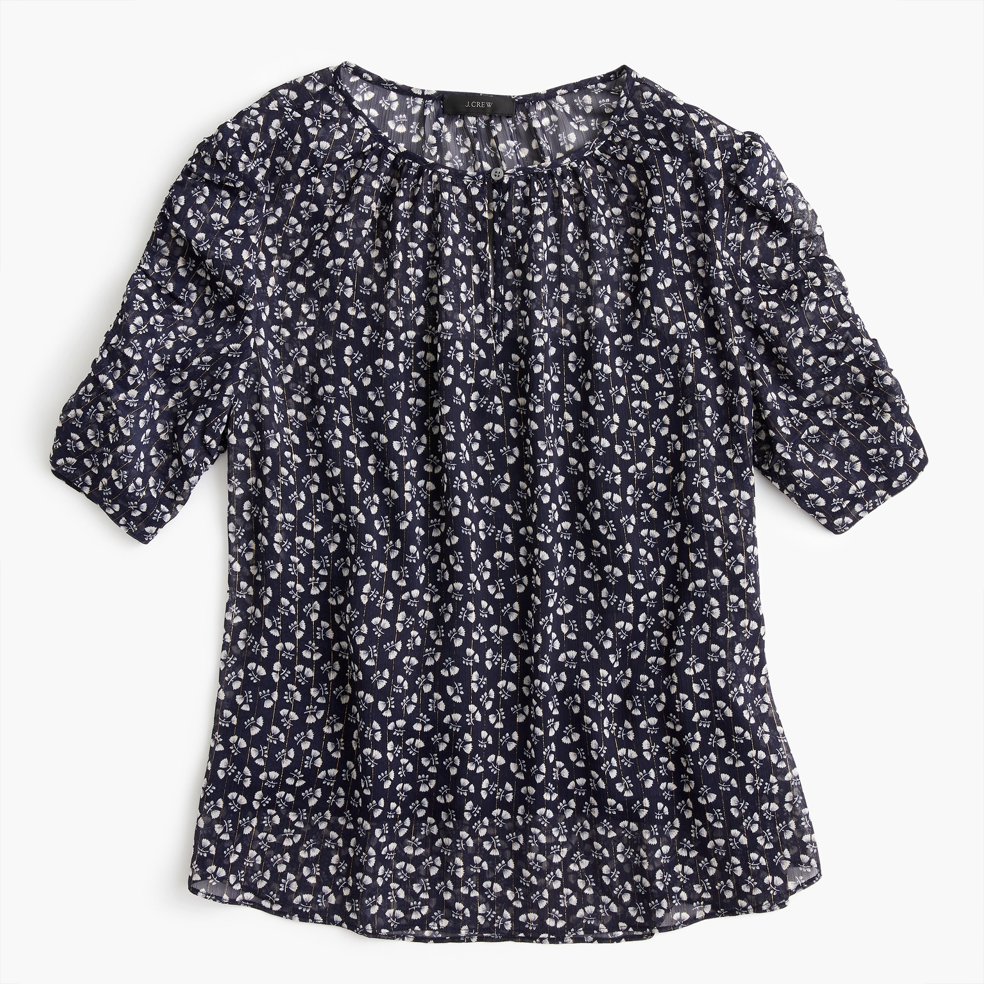 Tall ruched-sleeve top in sparkle floral