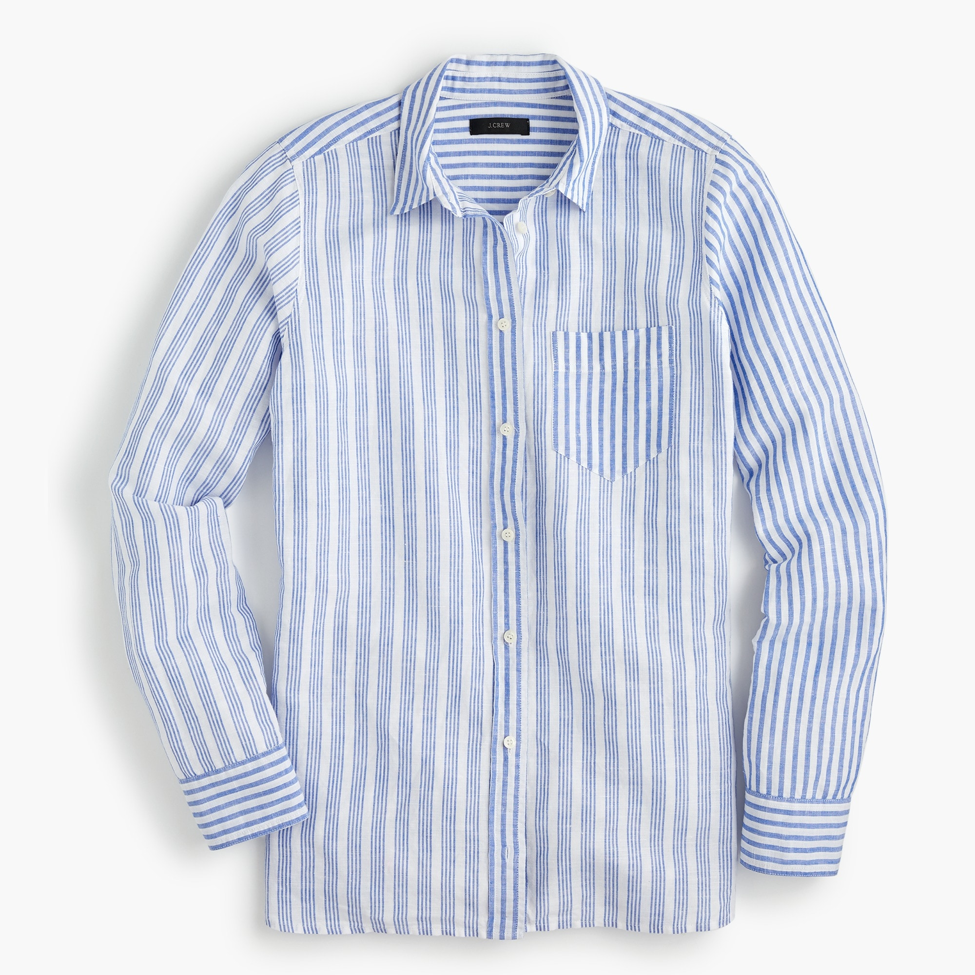 Image 1 for Relaxed boy shirt in cotton linen mixed stripe