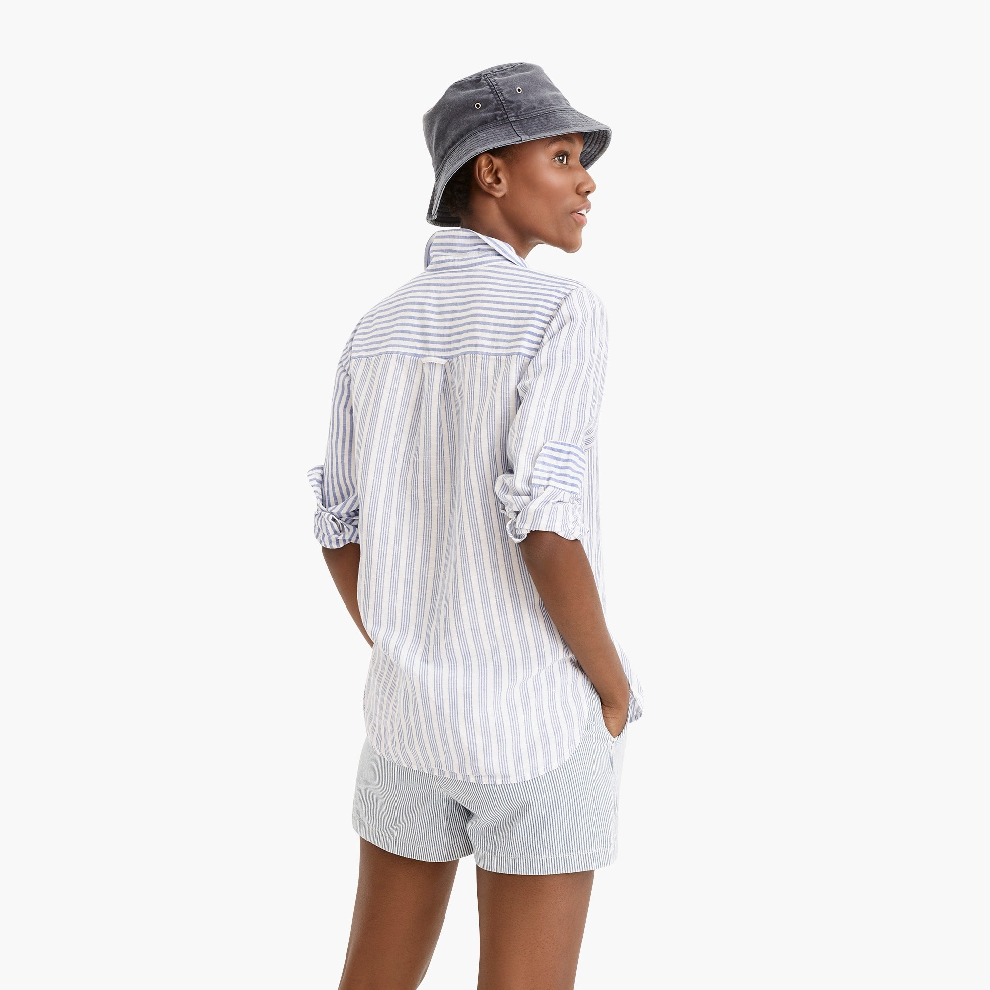 Relaxed boy shirt in cotton linen mixed stripe