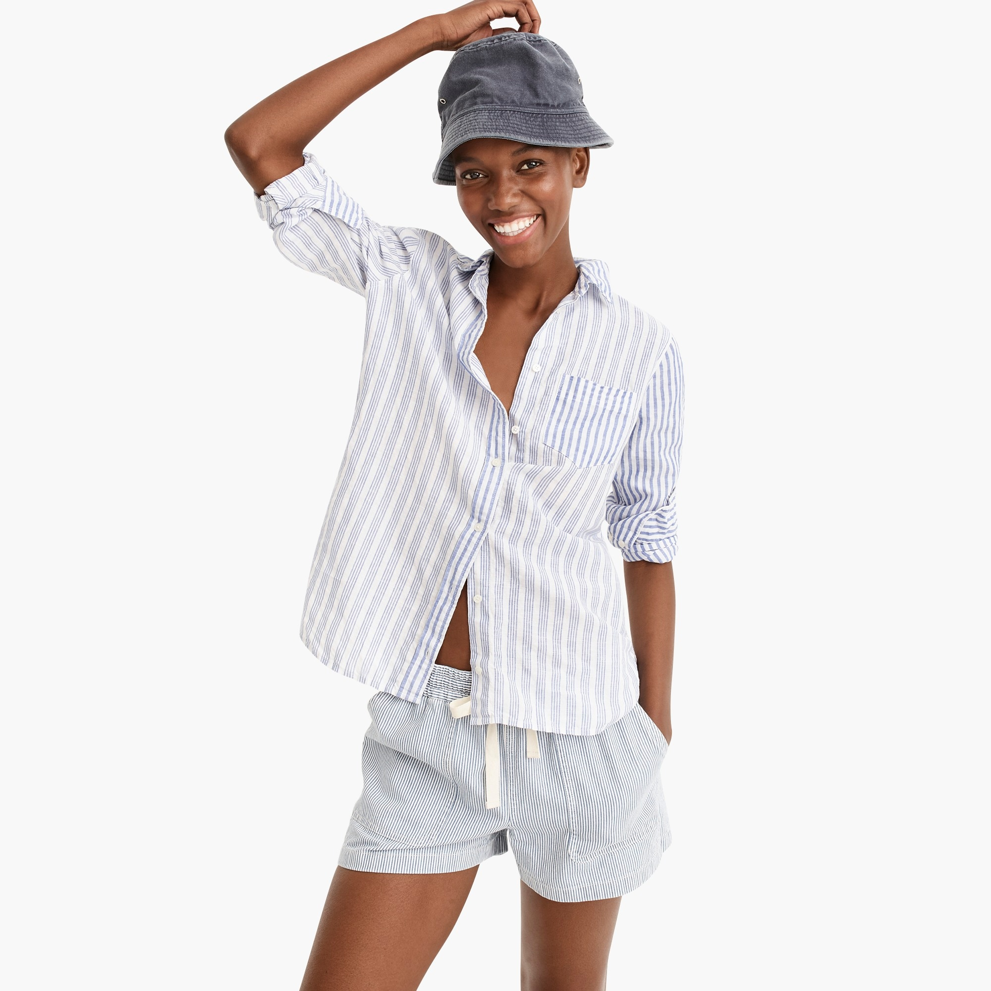 Petite relaxed boy shirt in cotton linen mixed stripe
