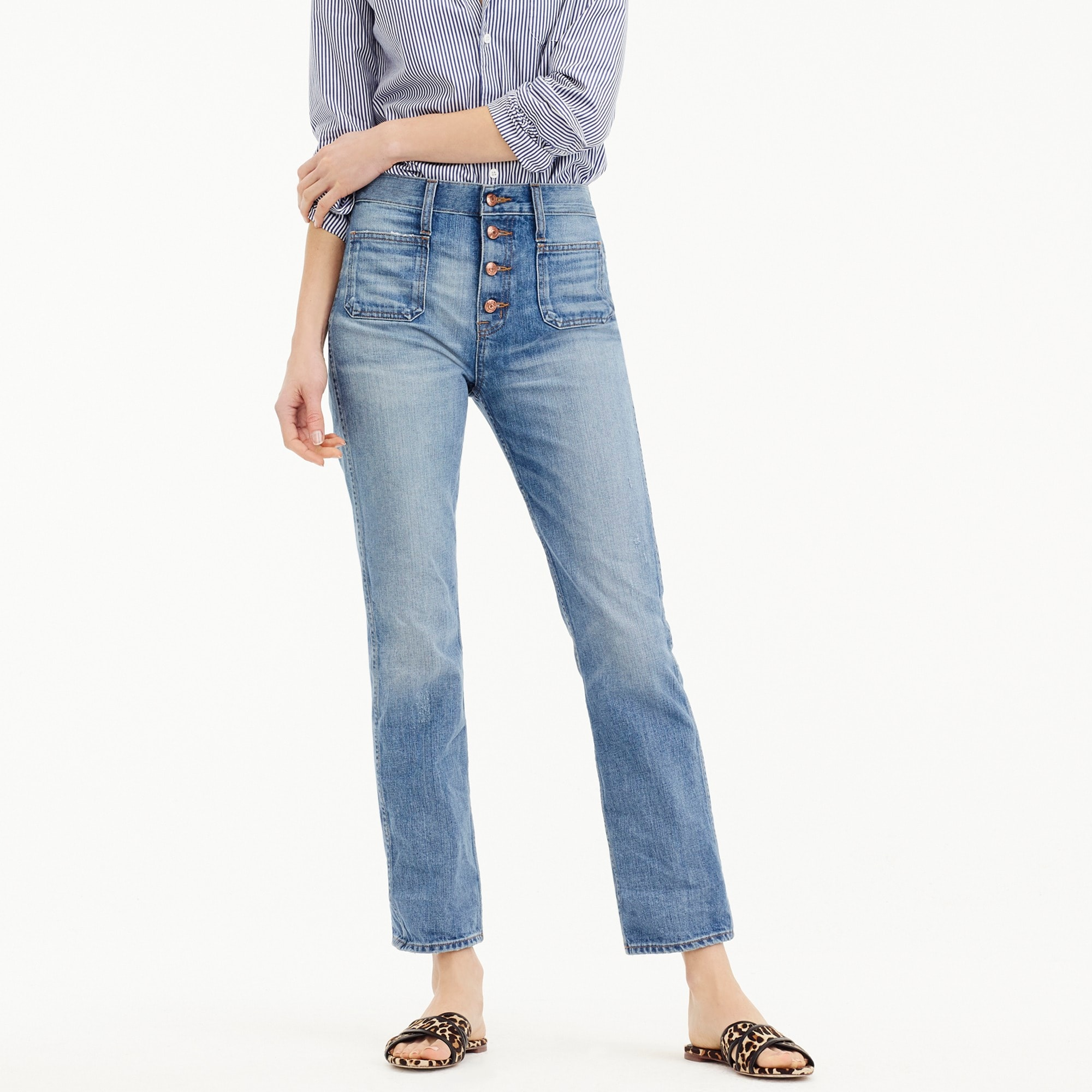 Point Sur vintage patch-pocket cropped jean in light wash