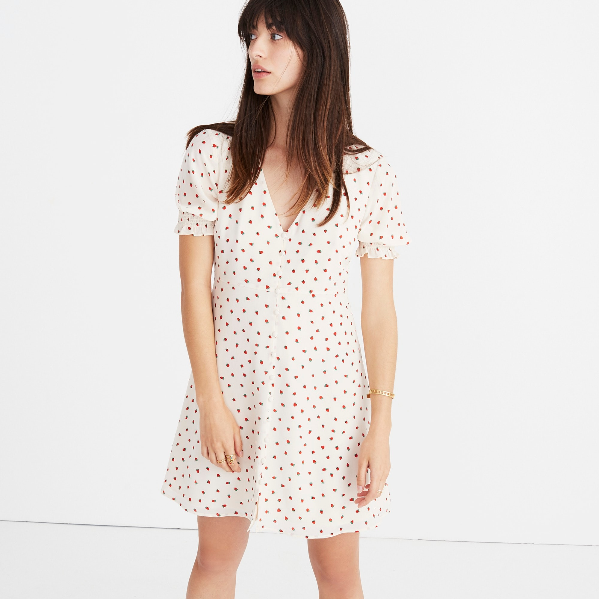 Madewell silk clover button-front dress in fresh strawberries women j.crew in good company c