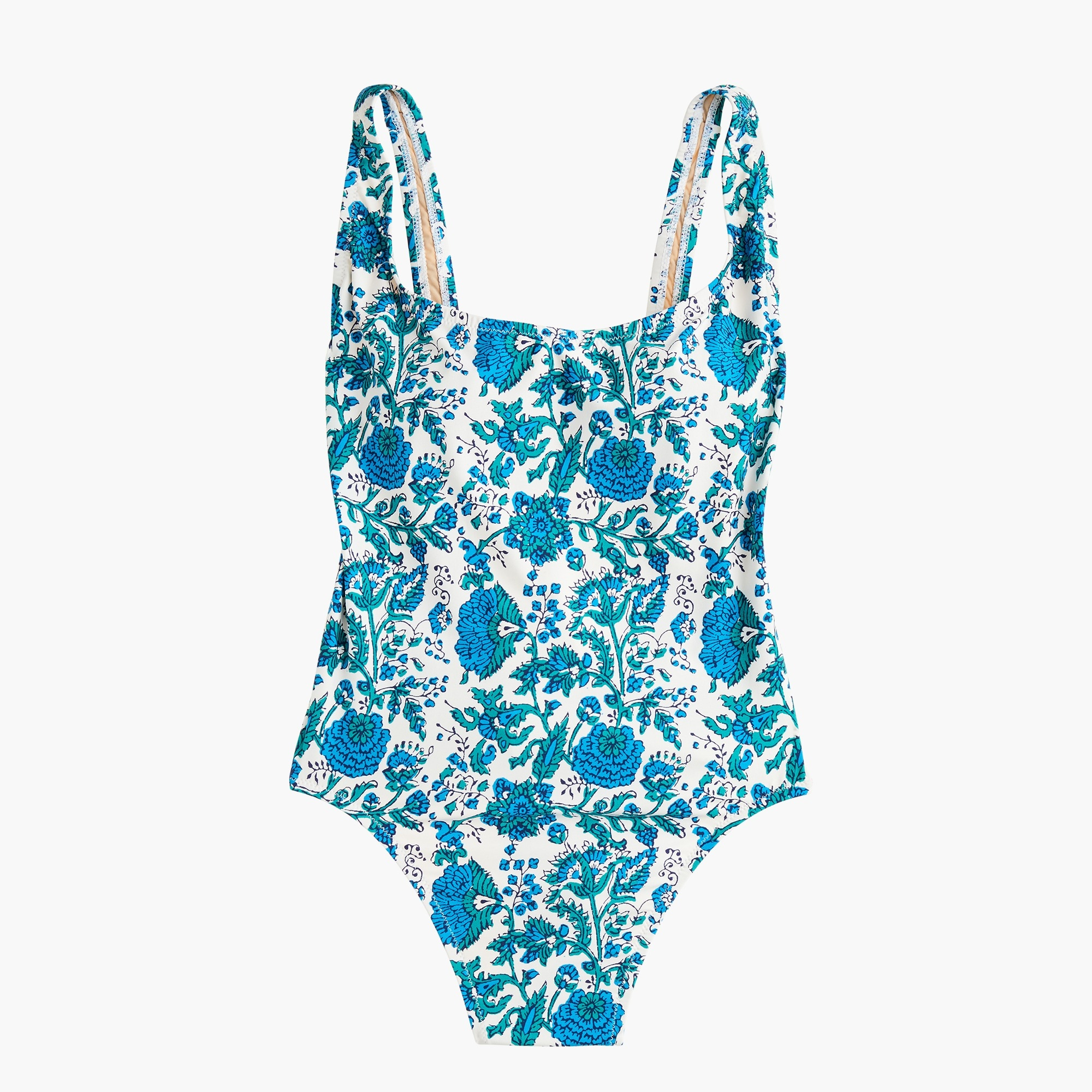 Plunging scoopback one-piece swimsuit in SZ Blockprints™ floral