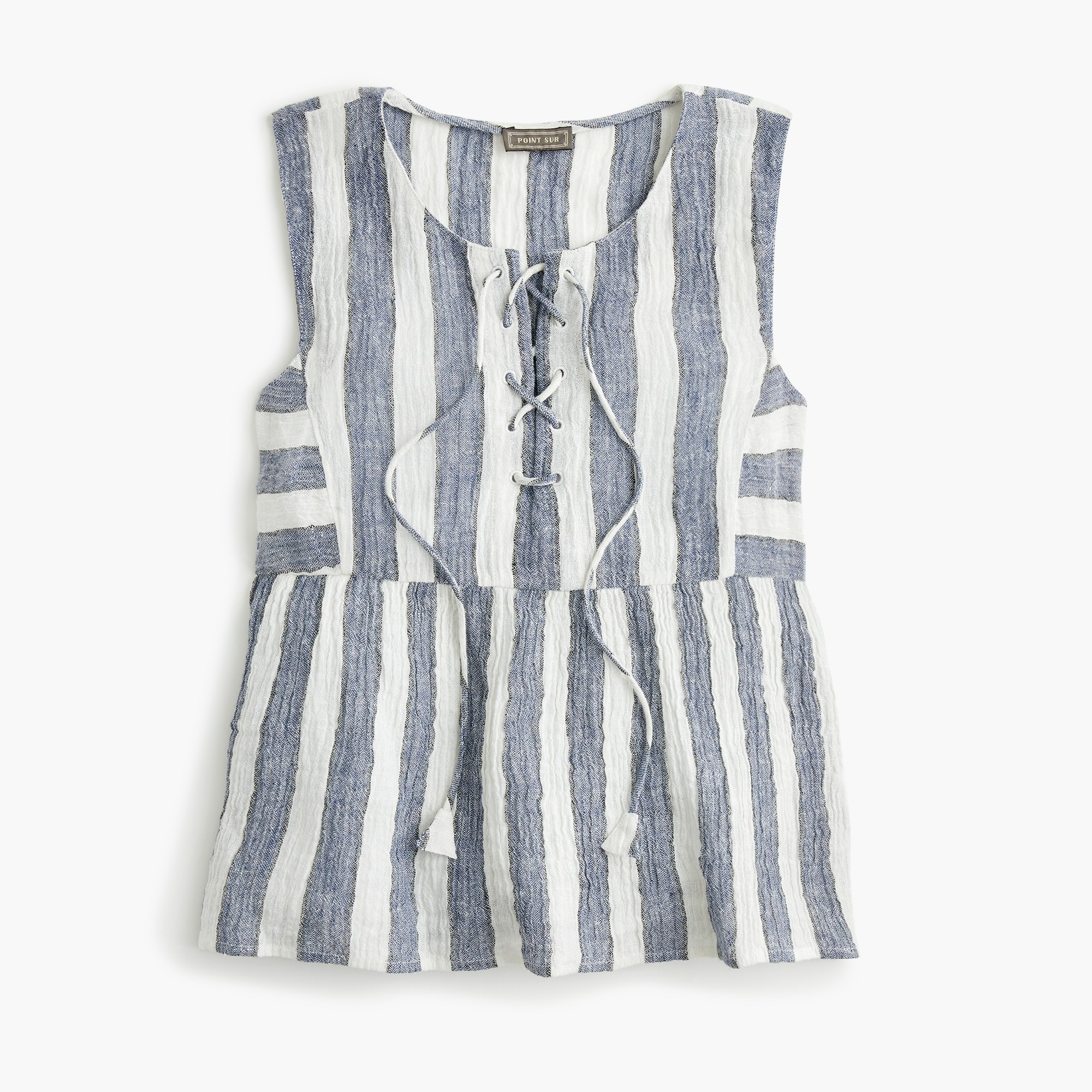Image 1 for Tall Point Sur tie-front top in striped linen
