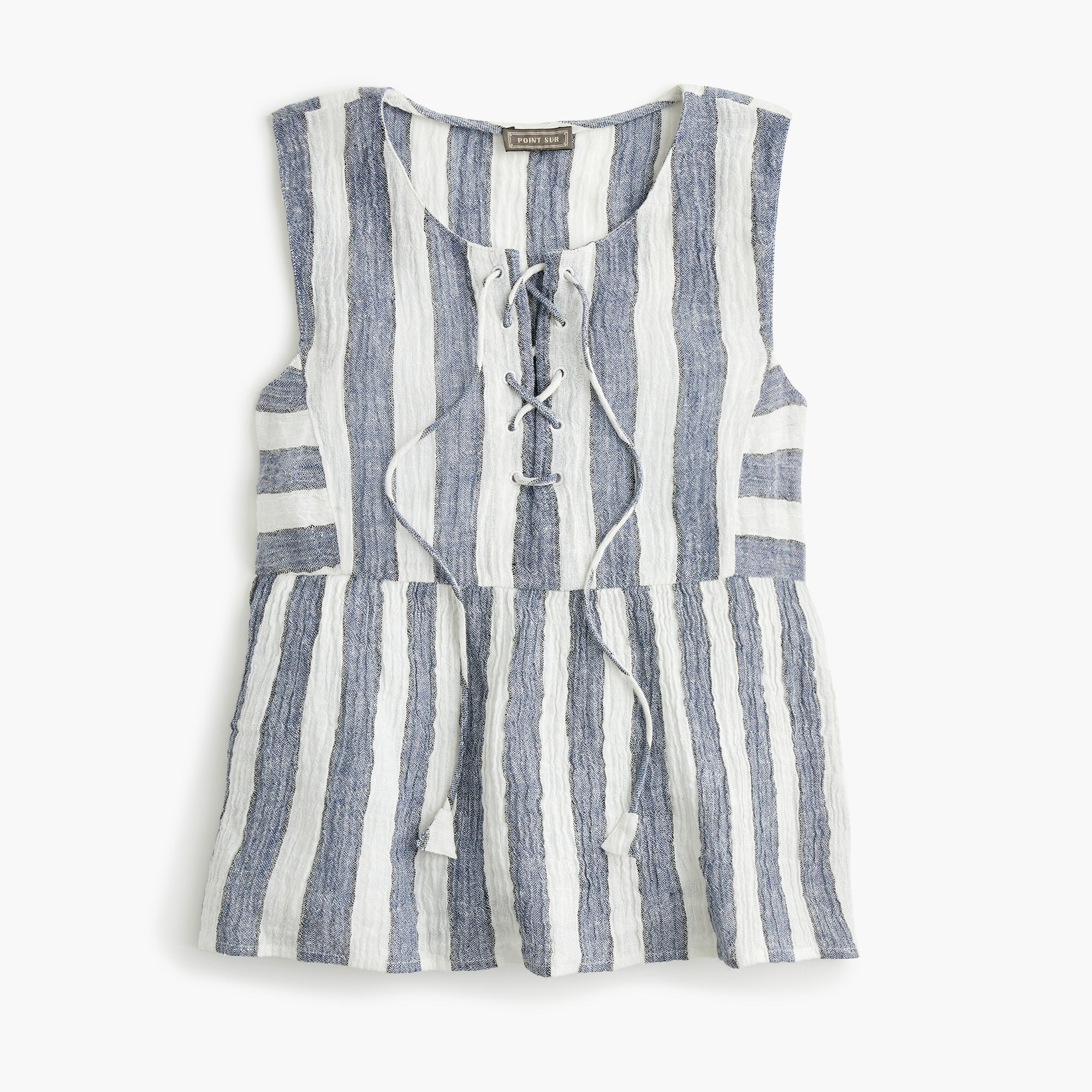 women's tall point sur tie-front top in striped linen - women's shirts