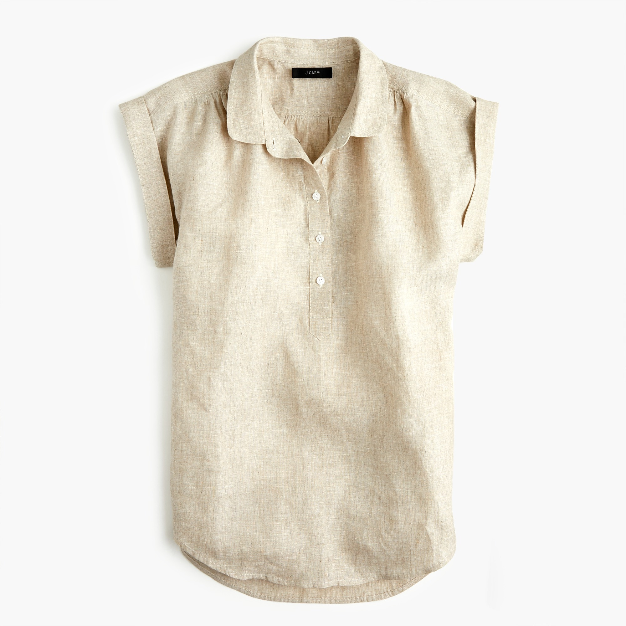 Image 1 for Petite collared popover shirt in cross-dyed linen