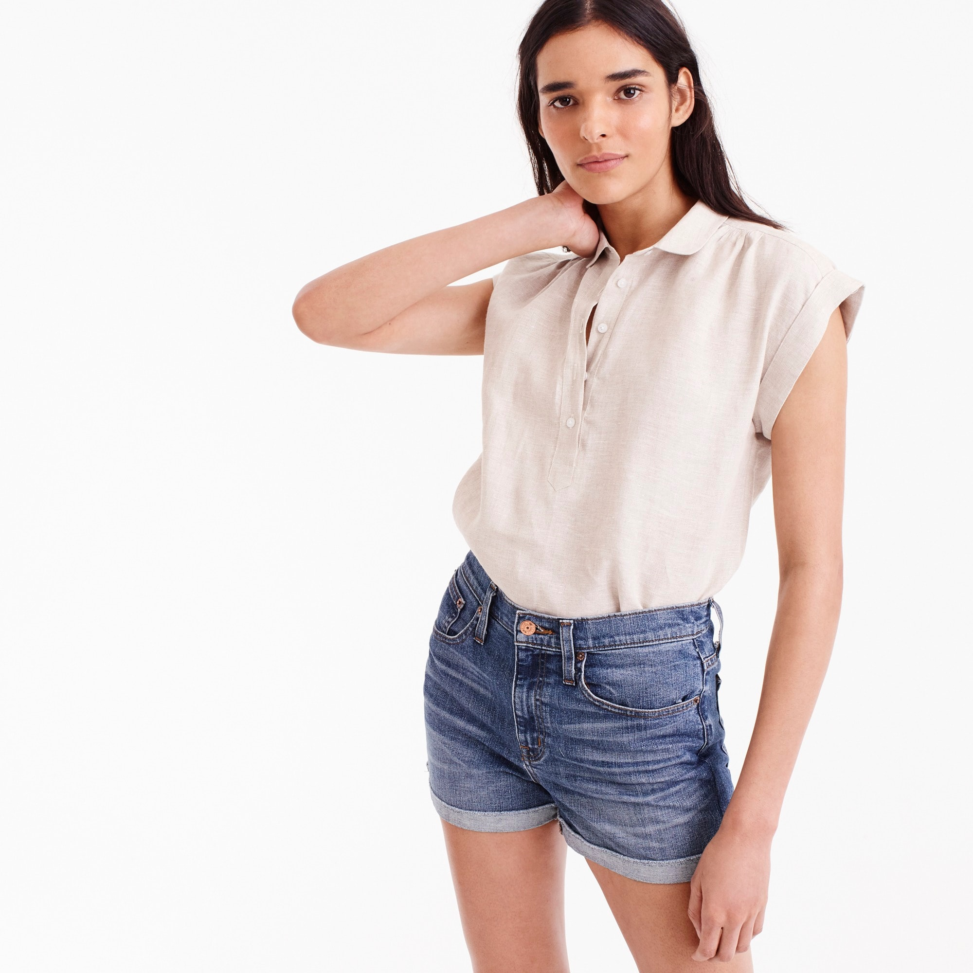 Petite collared popover in cross-dyed linen women petite c