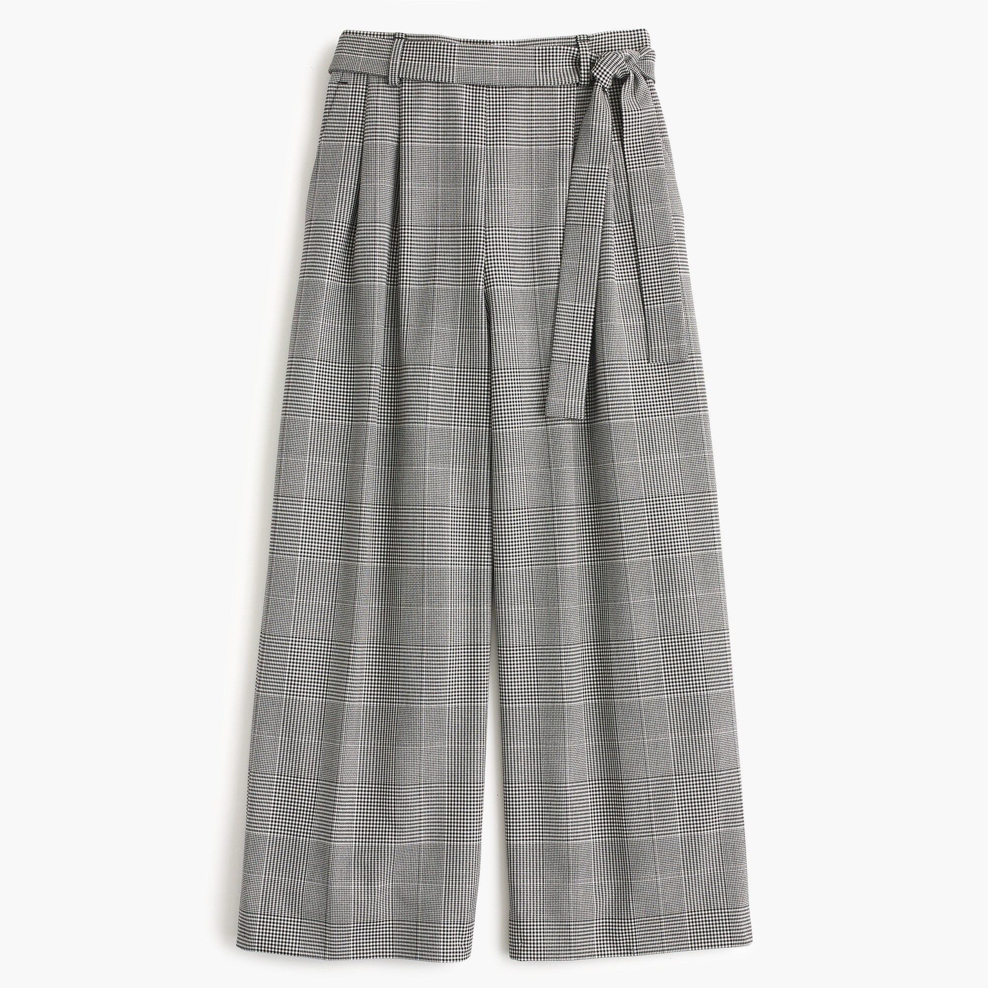 Pleated wide-leg pant in glen plaid