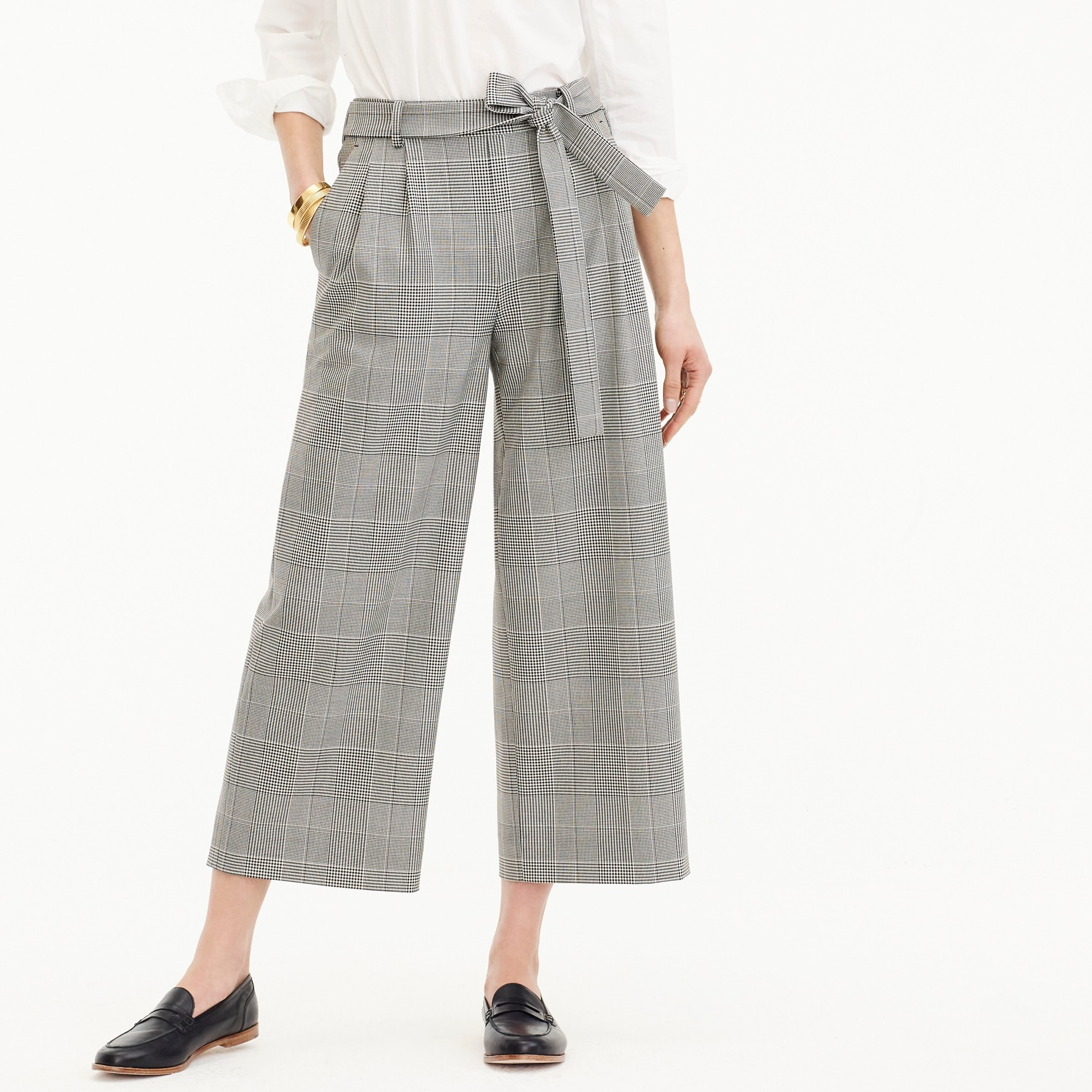 Image 3 for Pleated wide-leg pant in glen plaid