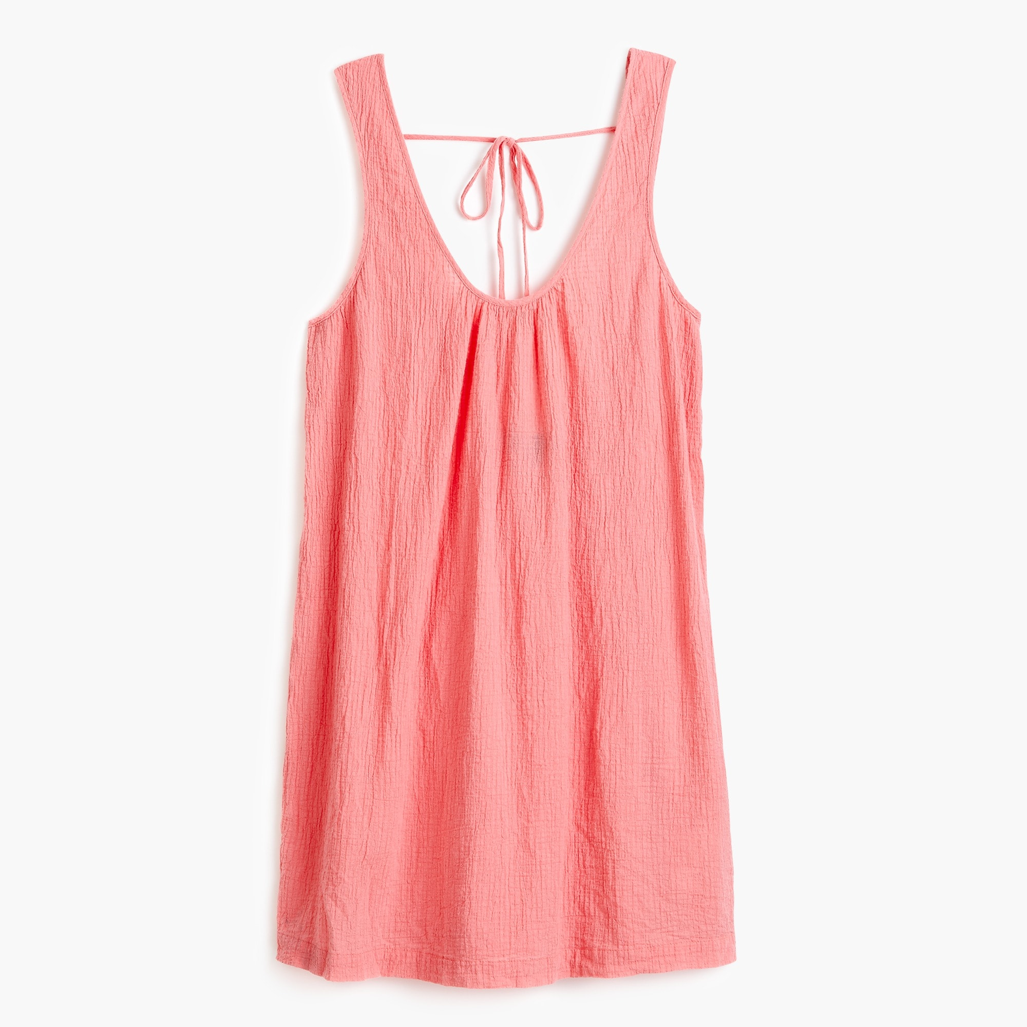 Tie-back crinkle cotton tank dress