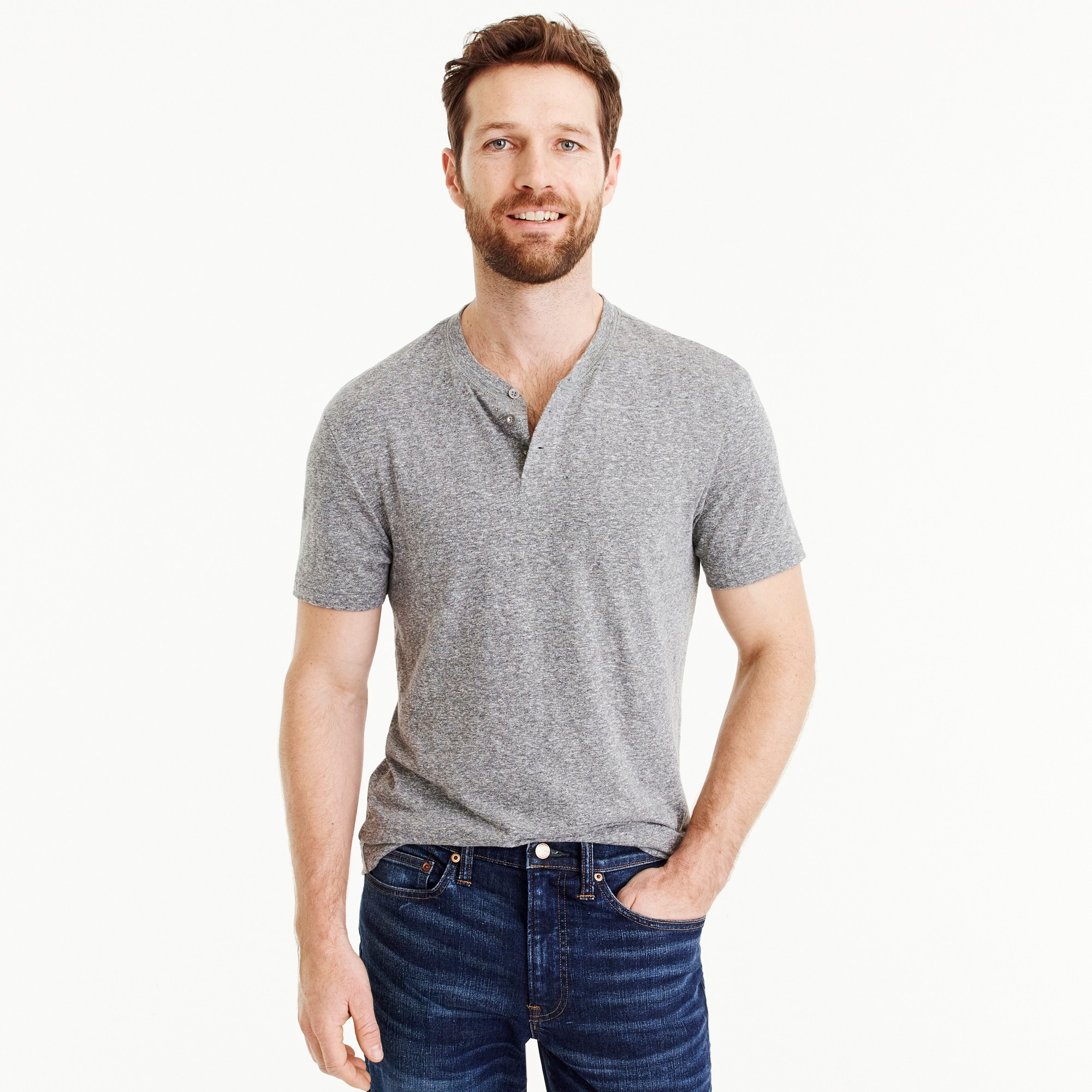 Triblend short-sleeve henley
