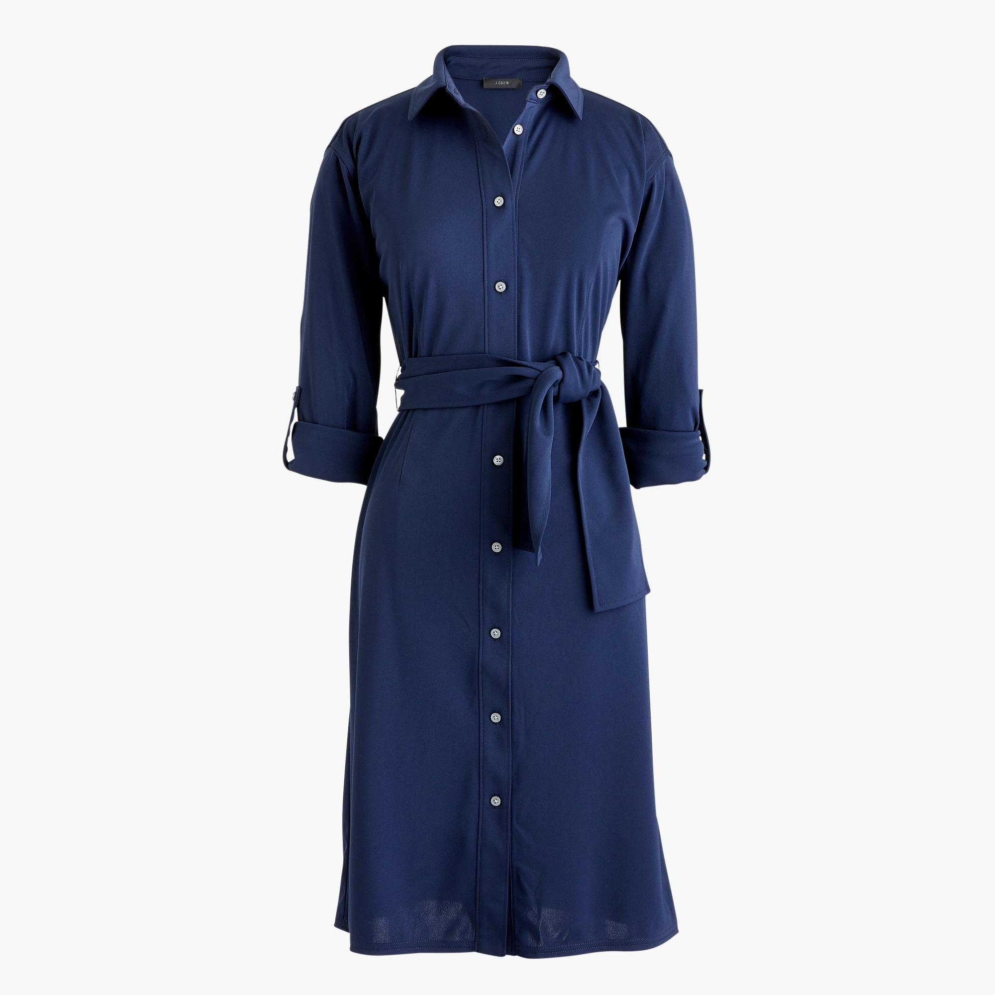 Tie-waist knit shirtdress
