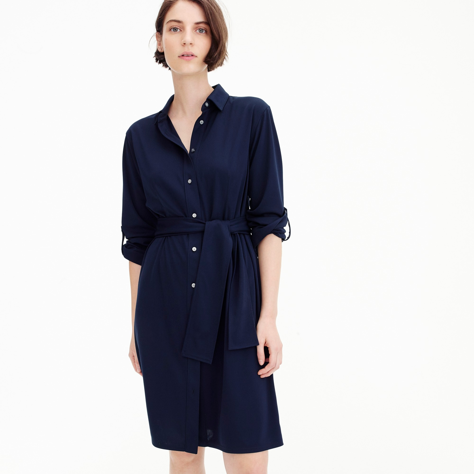 Tie-waist knit shirtdress women new arrivals c