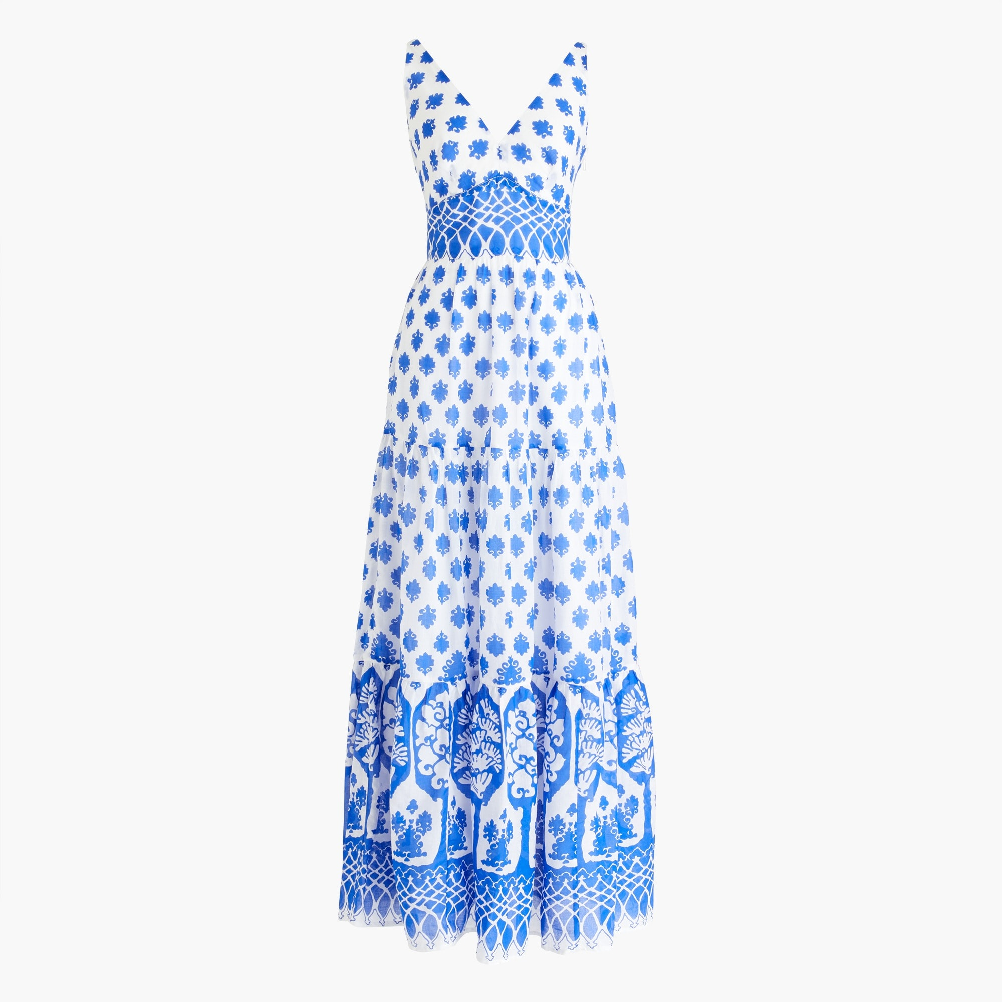 Image 2 for V-neck maxi dress in block print