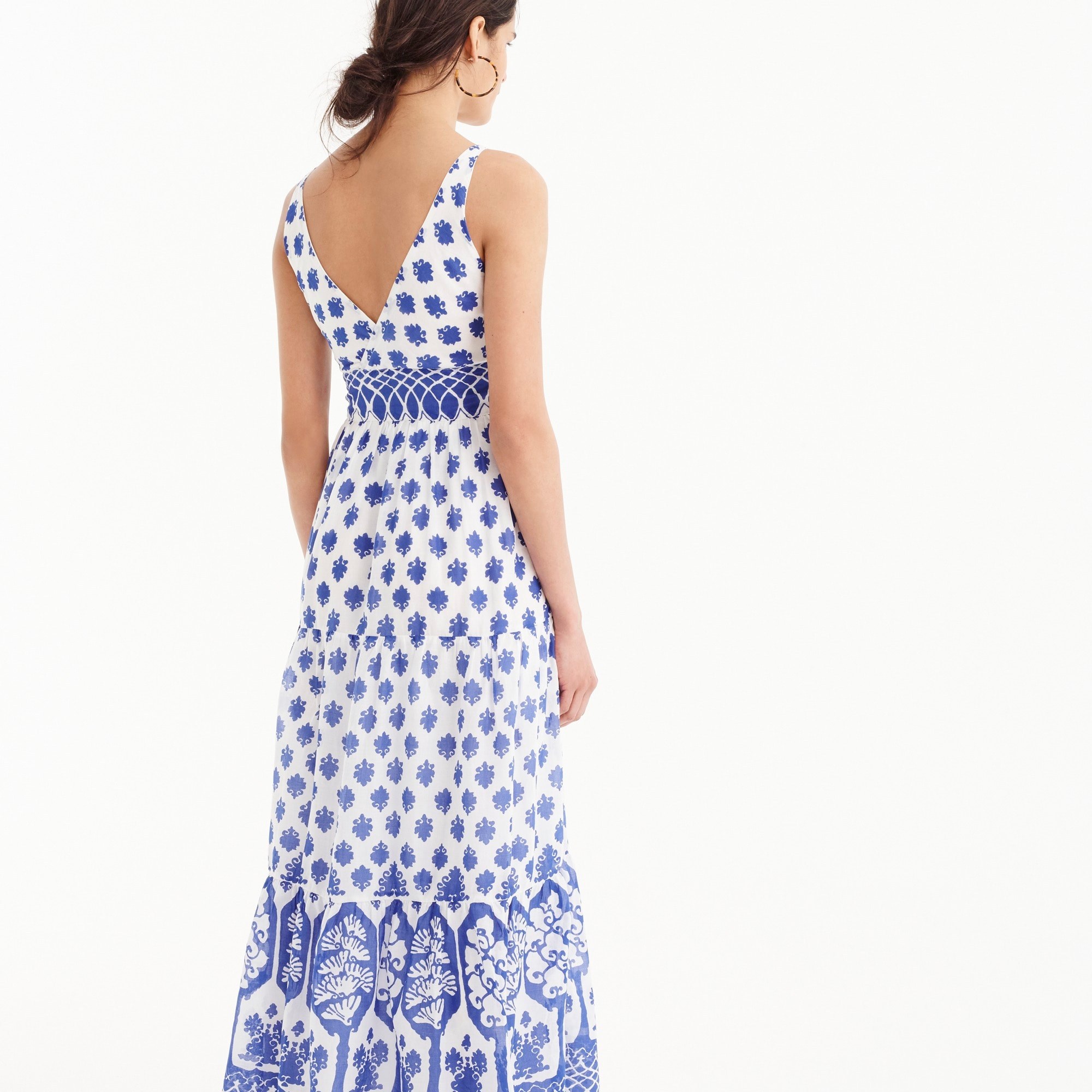 Image 4 for V-neck maxi dress in block print