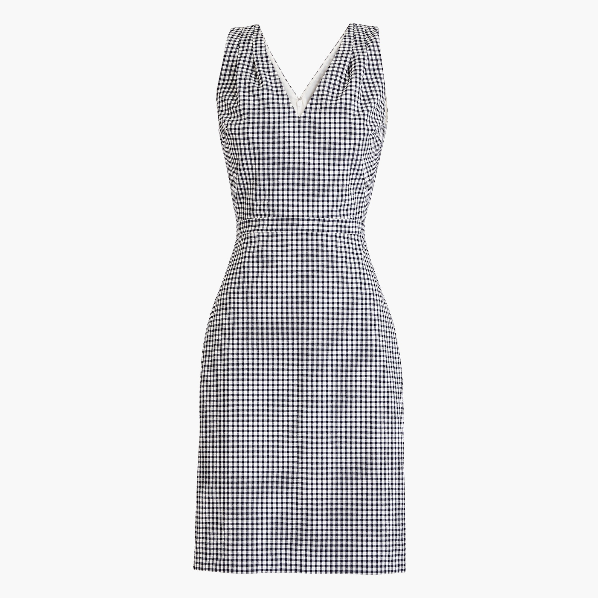 V-neck seersucker dress in gingham