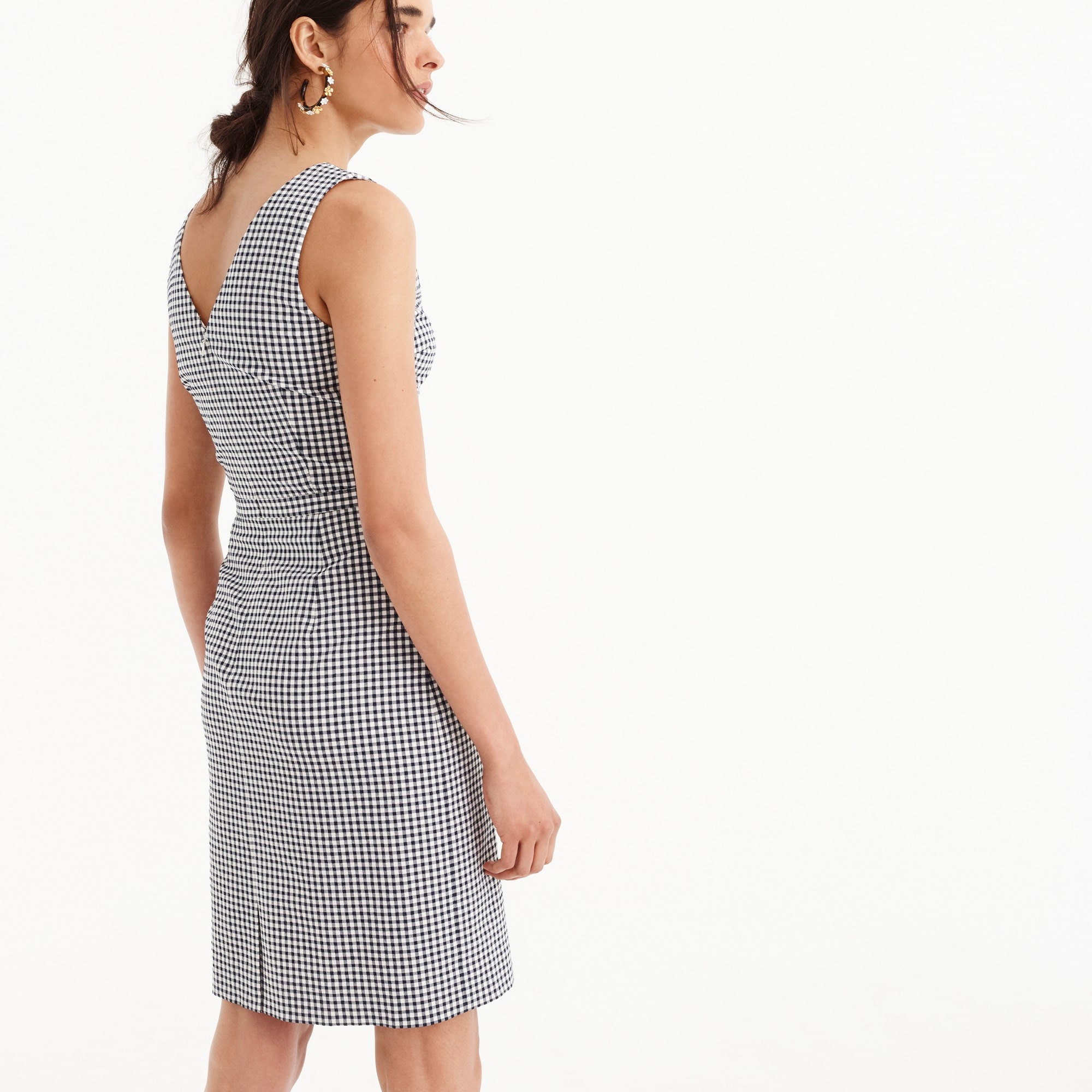 Image 3 for V-neck seersucker dress in gingham