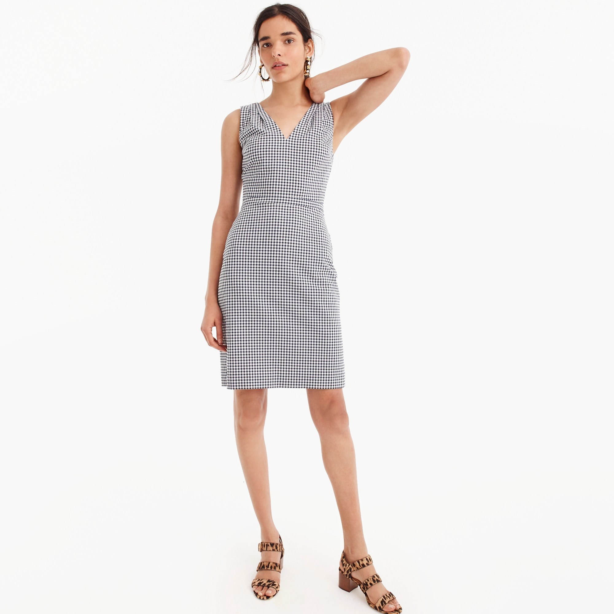 Image 1 for V-neck seersucker dress in gingham