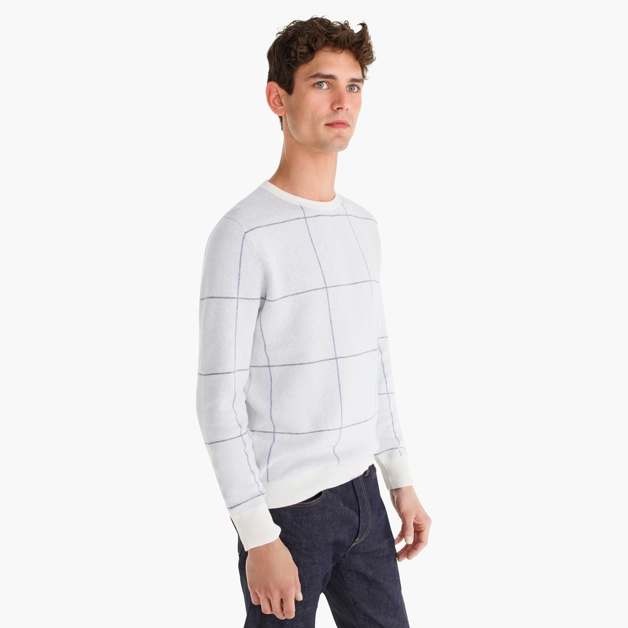 Cotton-cashmere two-color crewneck sweater in windowpane