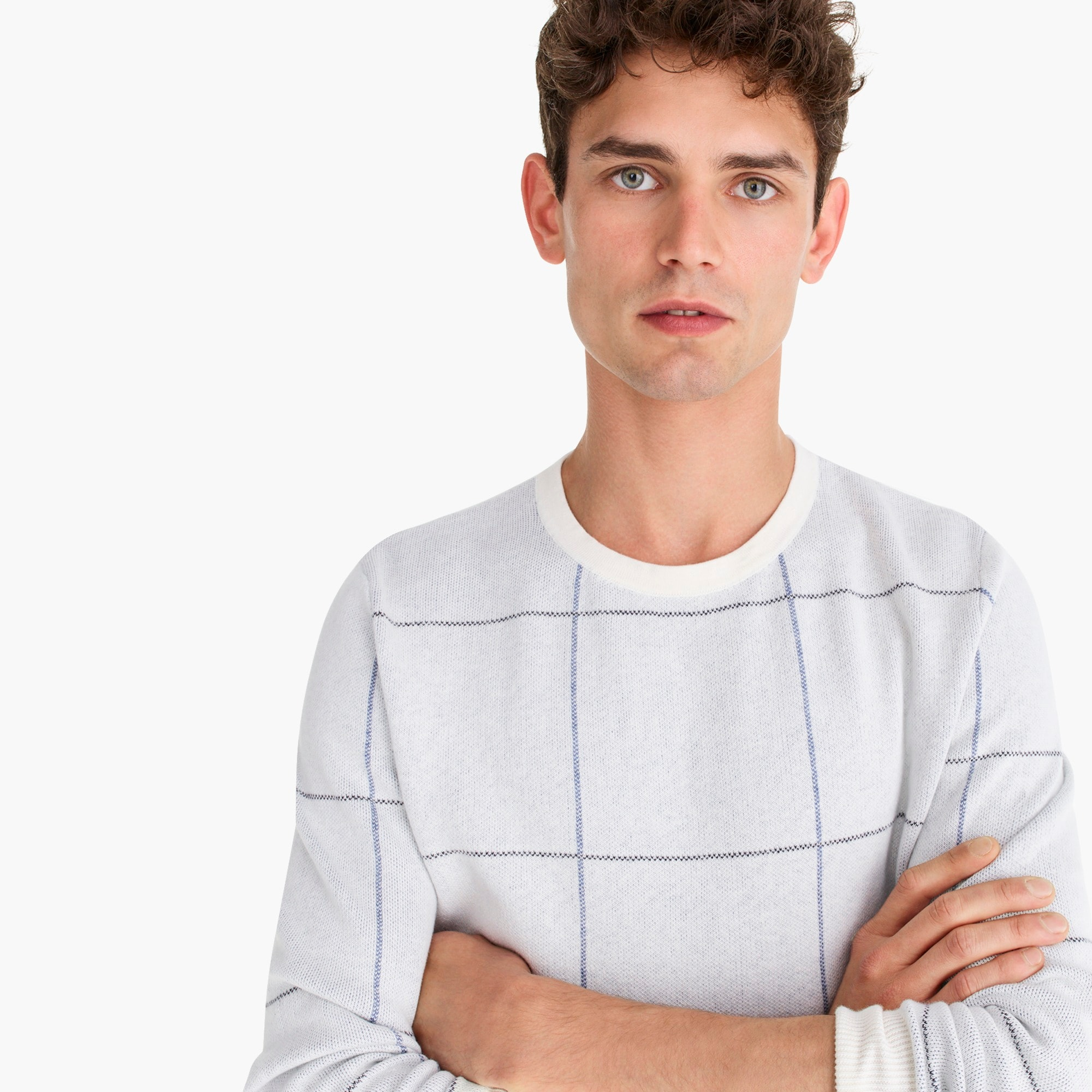 Image 4 for Cotton-cashmere two-color crewneck sweater in windowpane