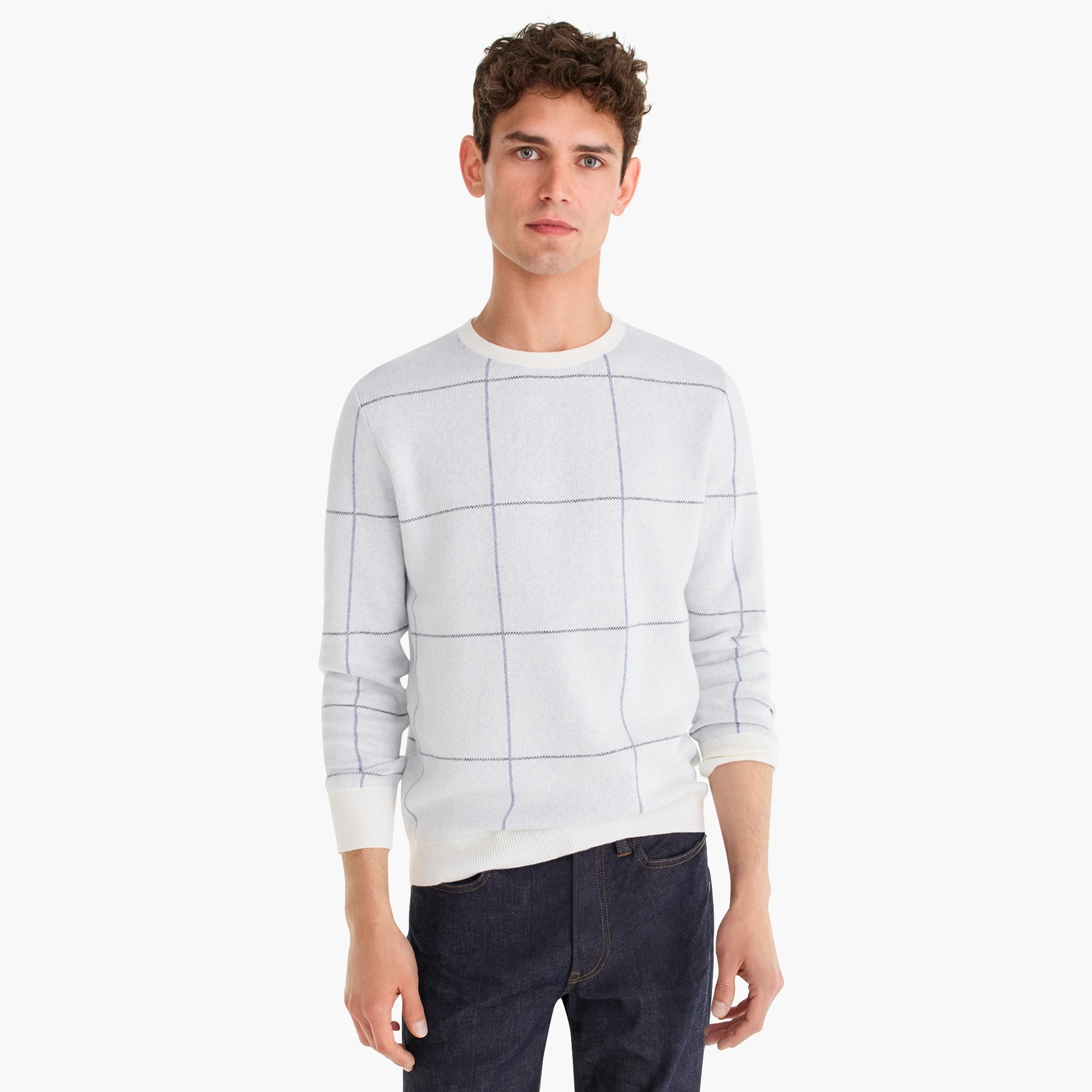men's cotton-cashmere two-color crew neck sweater in windowpane - men's sweaters