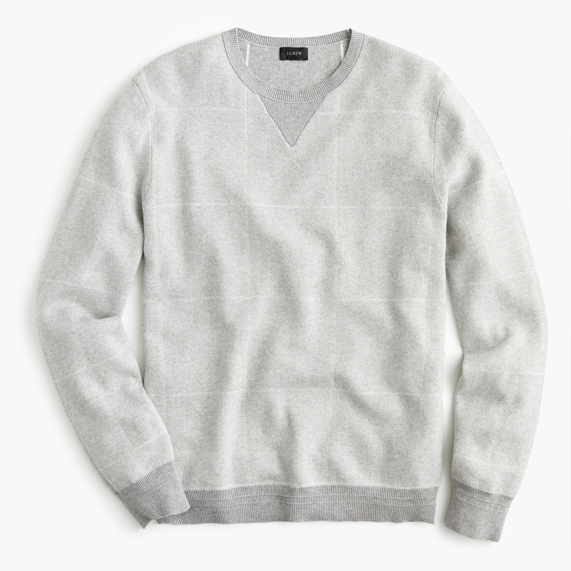 men's cotton-cashmere crew neck sweater in windowpane jacquard - men's sweaters