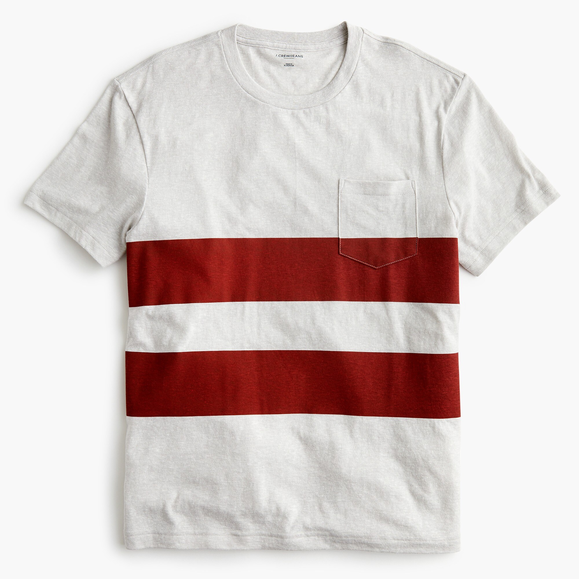 mens Triblend T-shirt in red double stripe