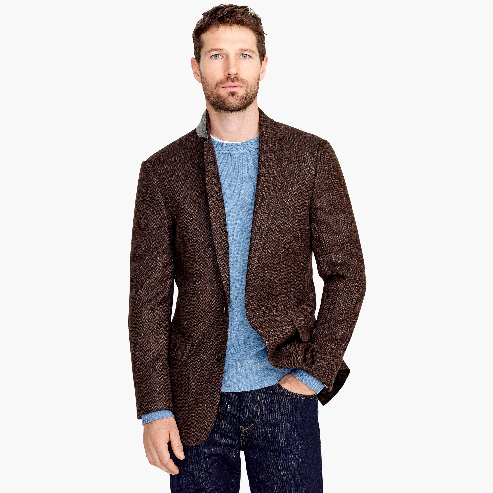 mens Ludlow Classic-fit tweed patch and flap-pocket blazer