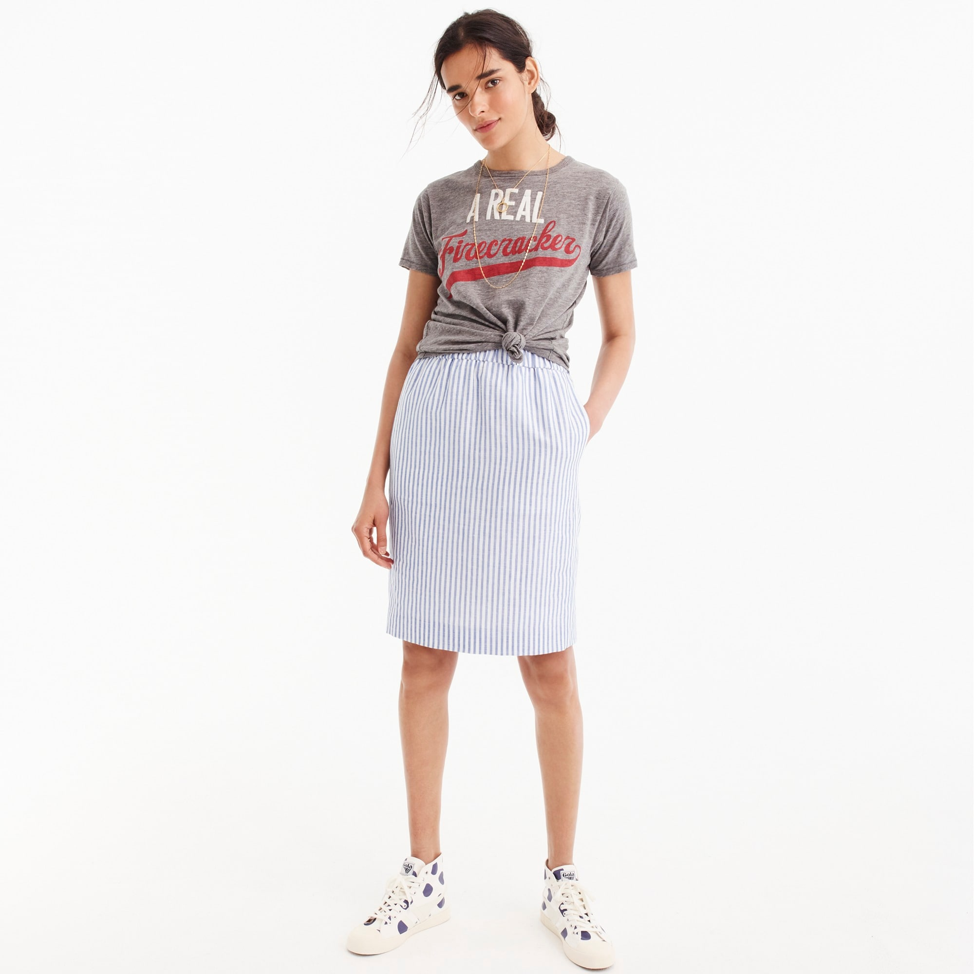 Pull-on linen skirt in stripe women skirts c