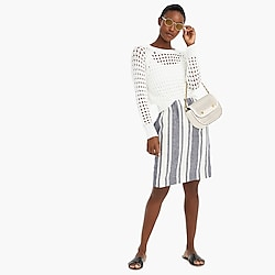 Tall pull-on skirt in striped Beauchamps linen