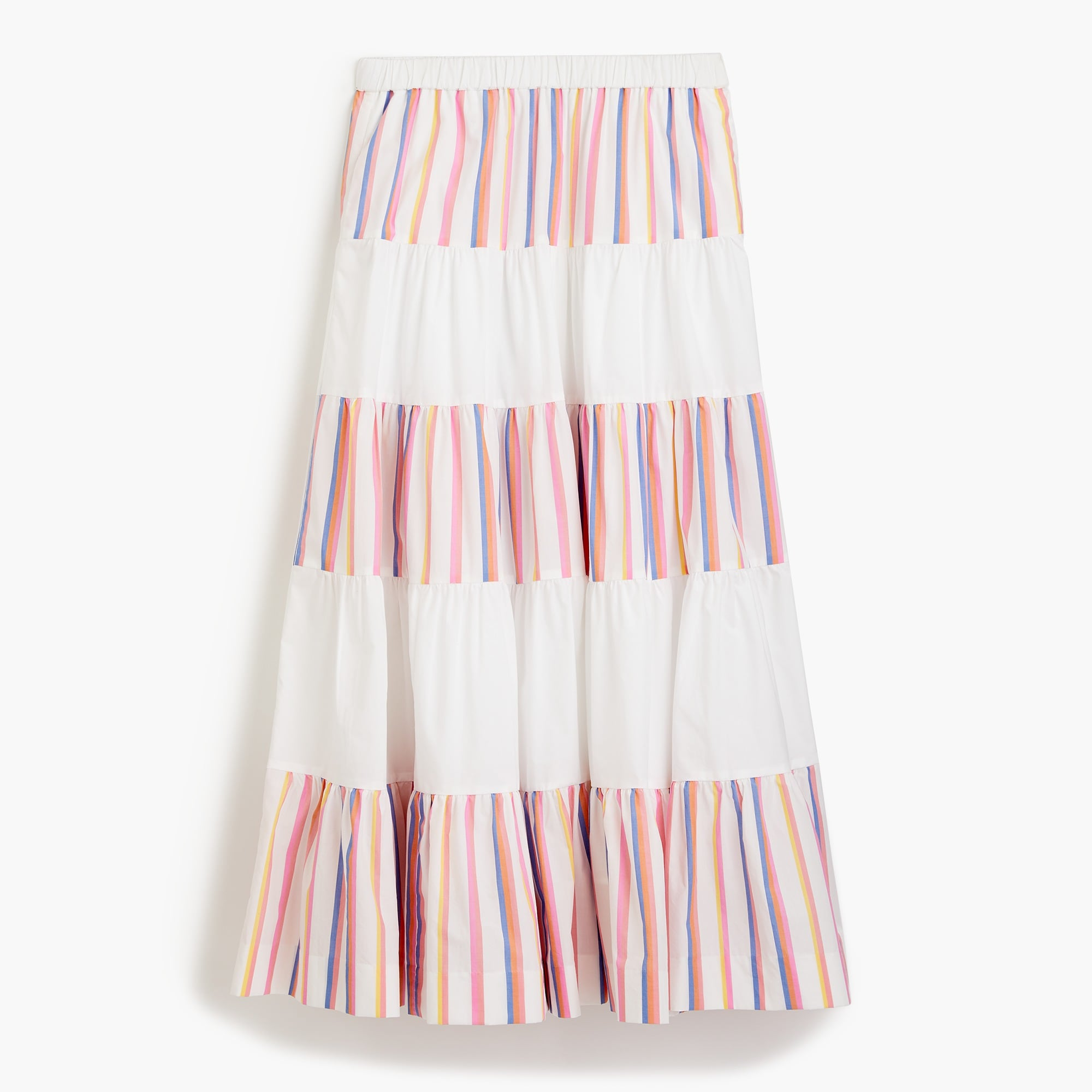 Tiered midi skirt in sorbet stripe