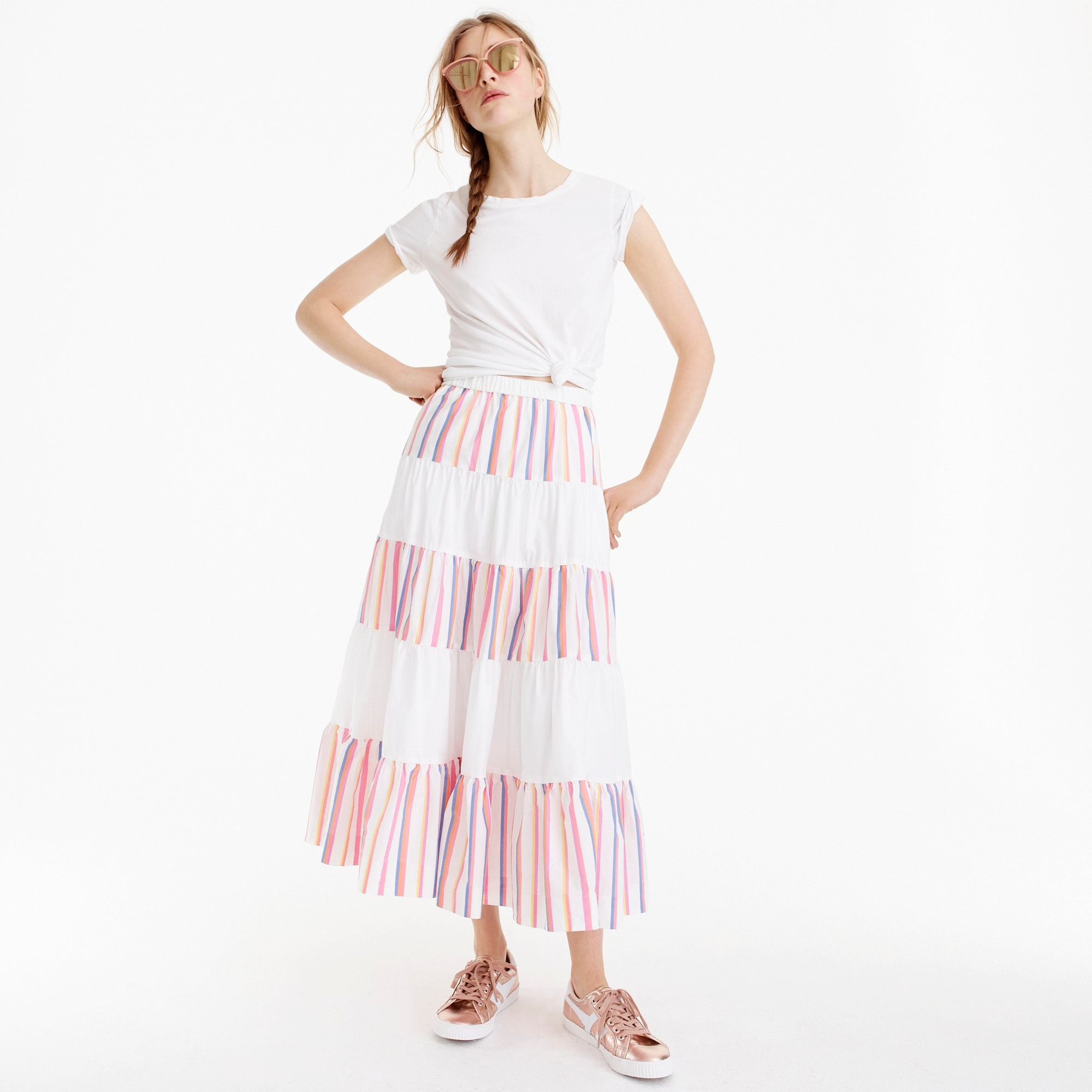 Image 4 for Tiered midi skirt in sorbet stripe