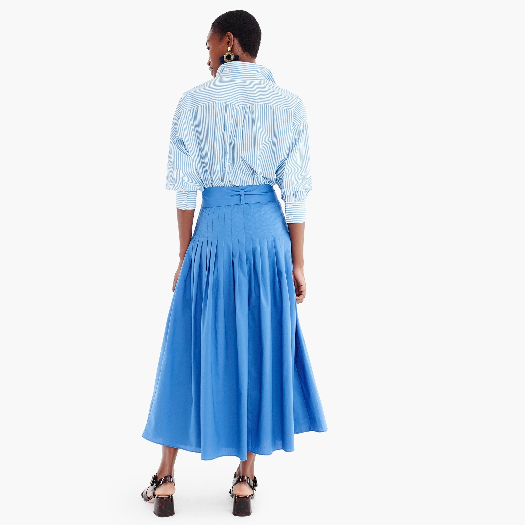 Pleated cotton poplin midi skirt