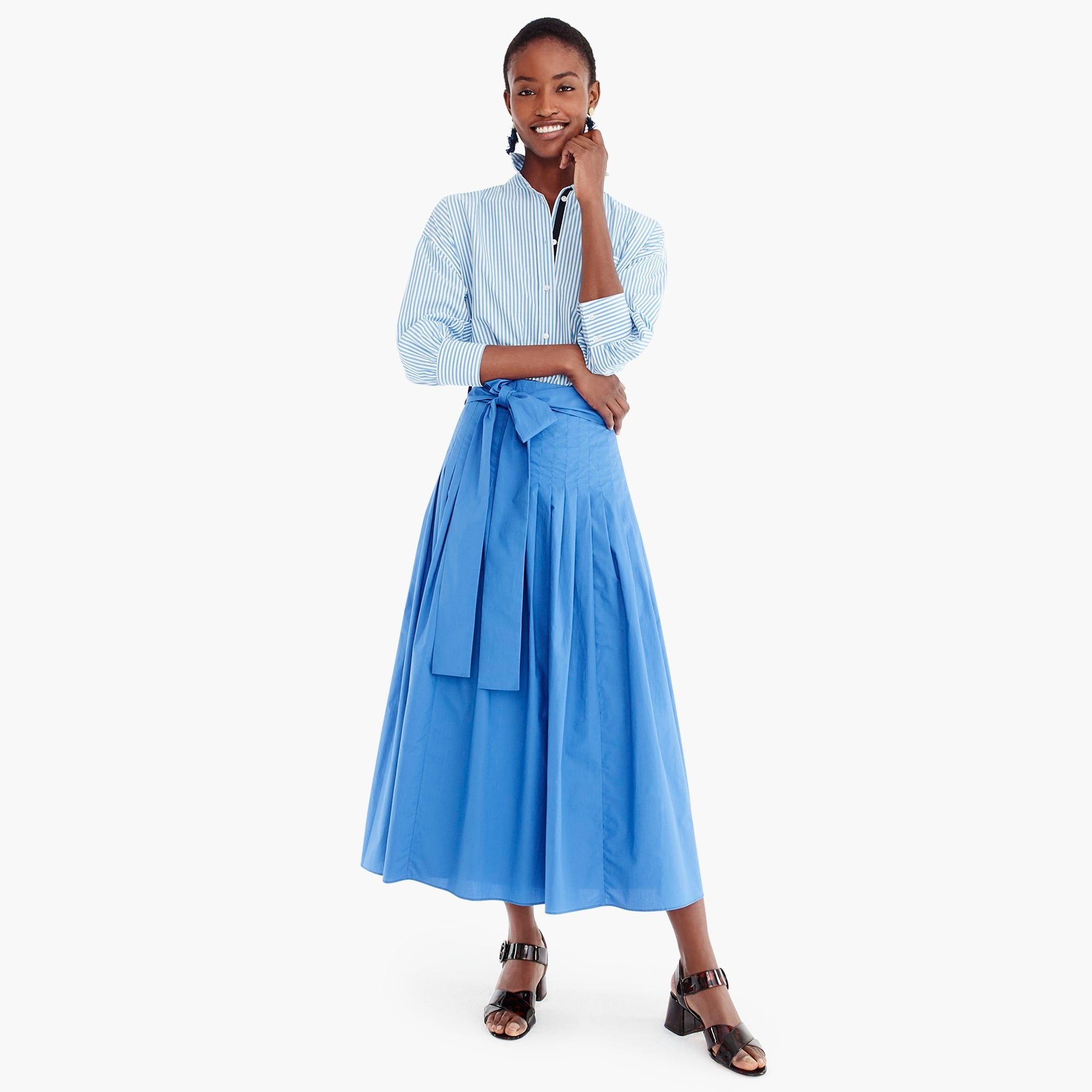 womens Petite pleated cotton poplin midi skirt