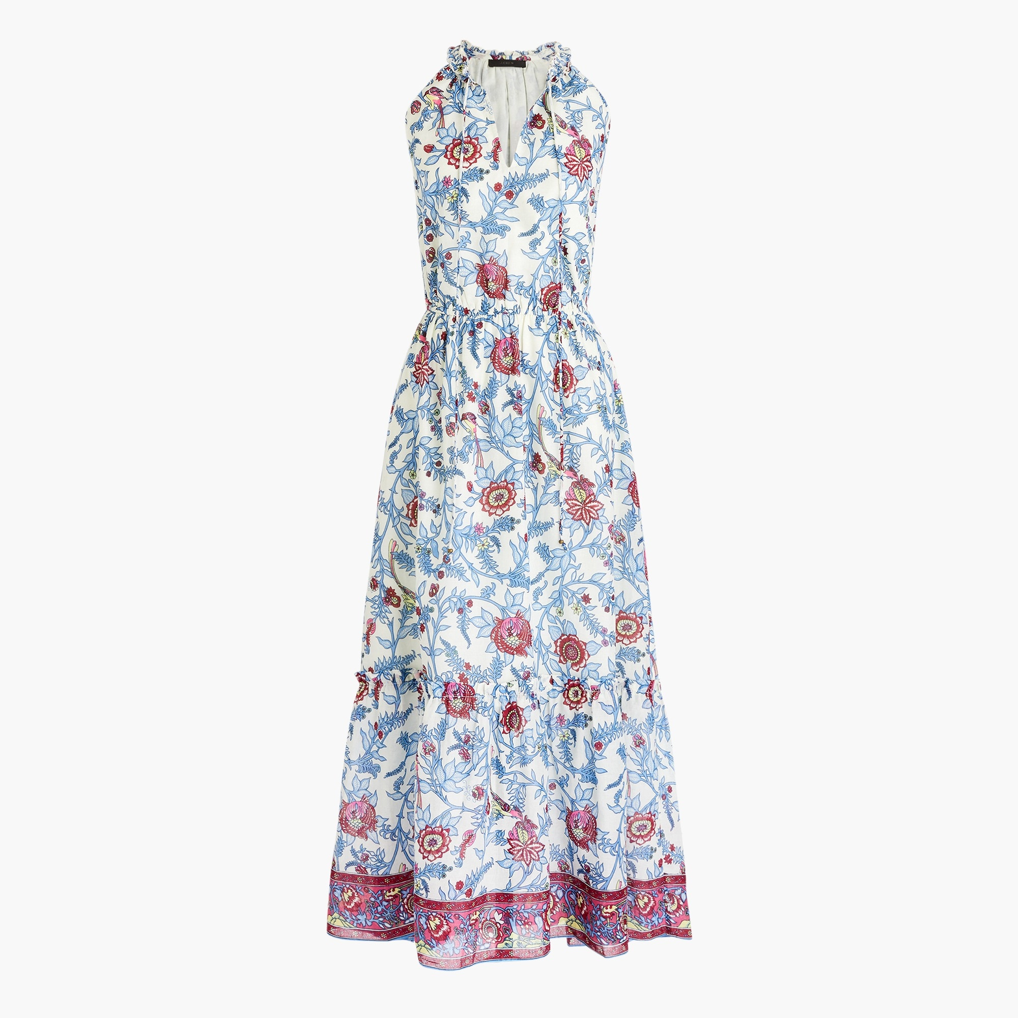 Point Sur ruffle-front block print maxi dress