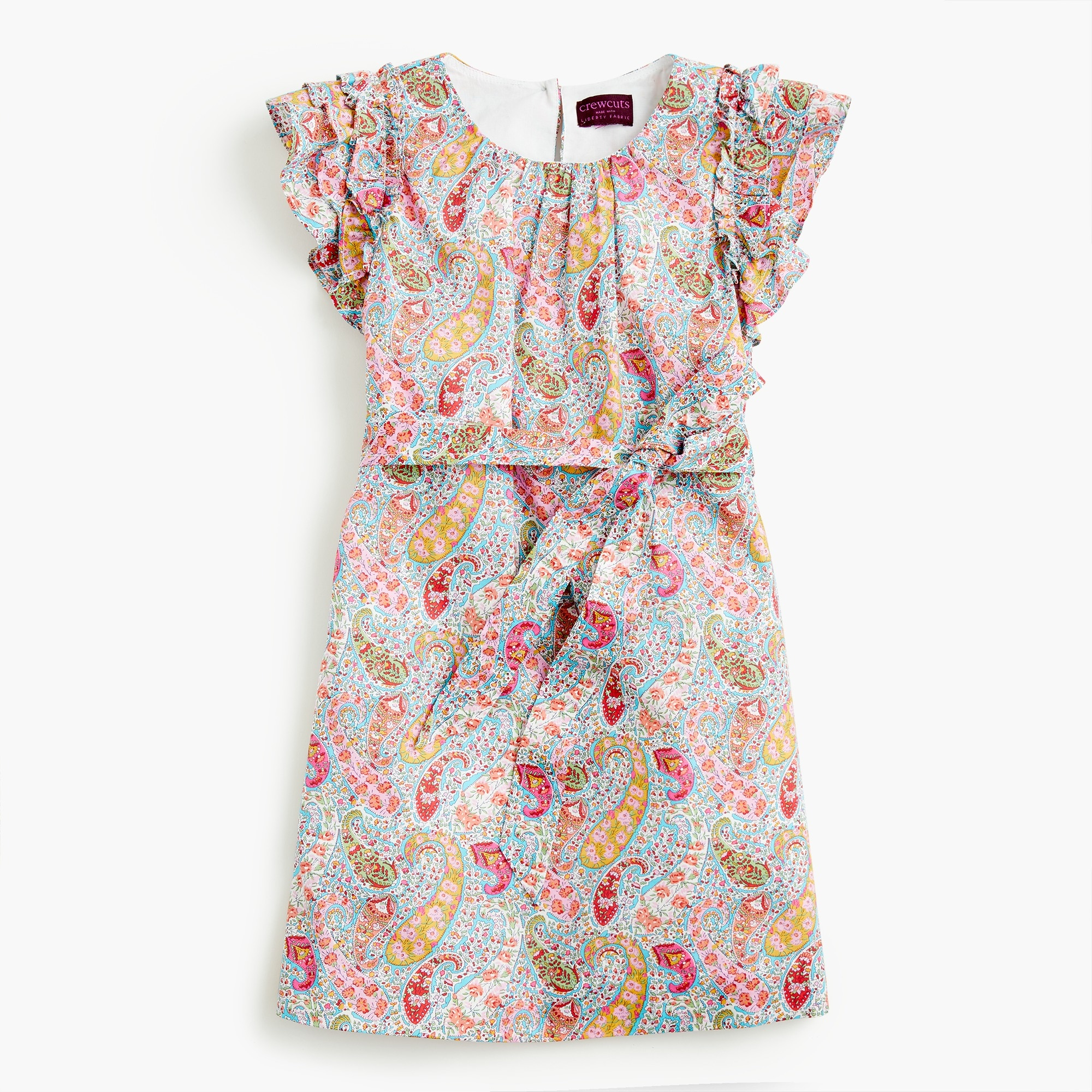 girls Girls' ruffle-sleeve dress in Liberty® paisley
