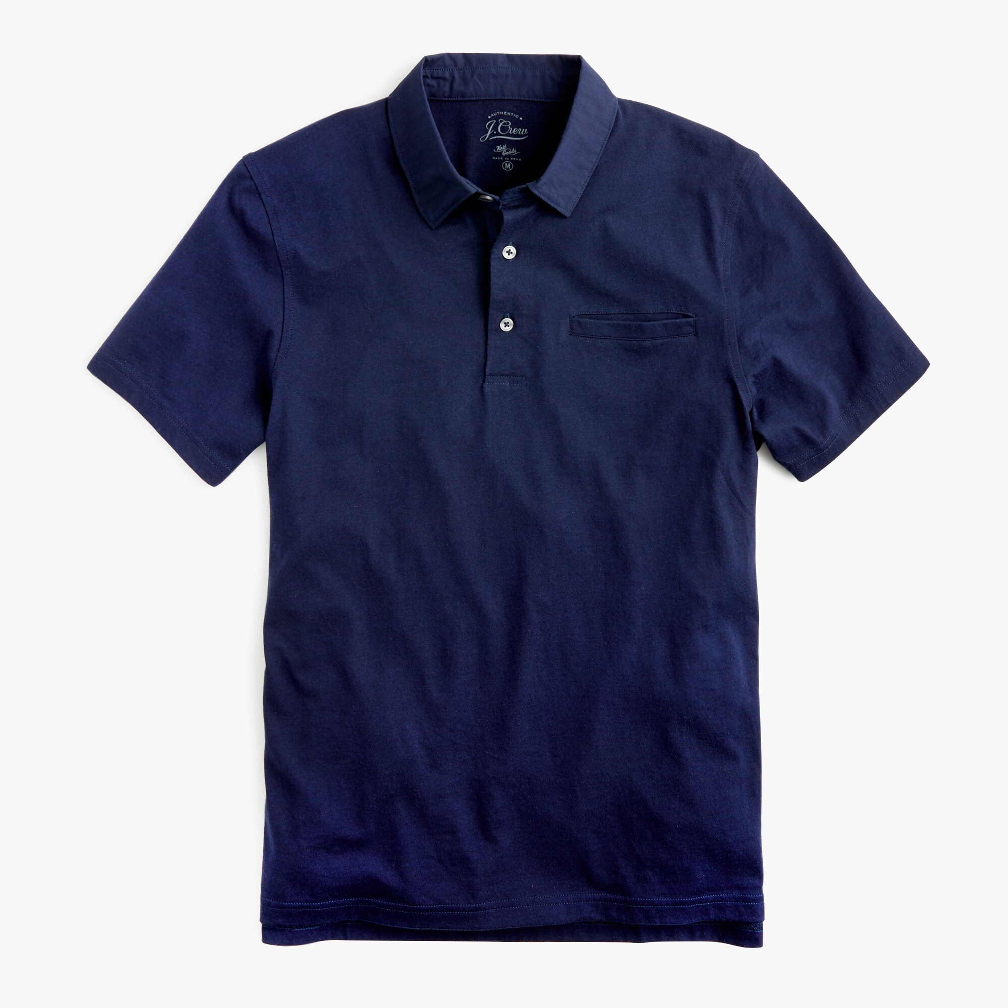 mens Tall woven-collar polo in Pima cotton
