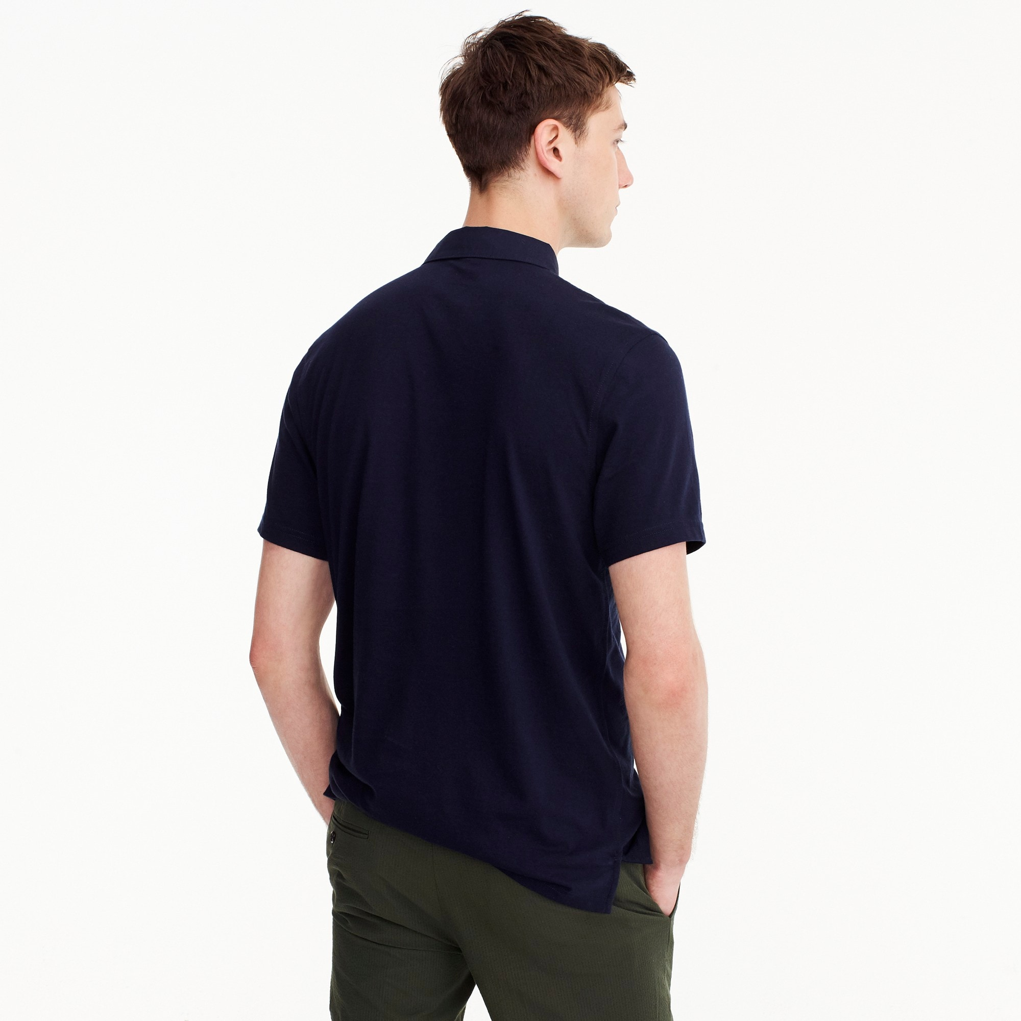 Tall woven-collar polo in Pima cotton