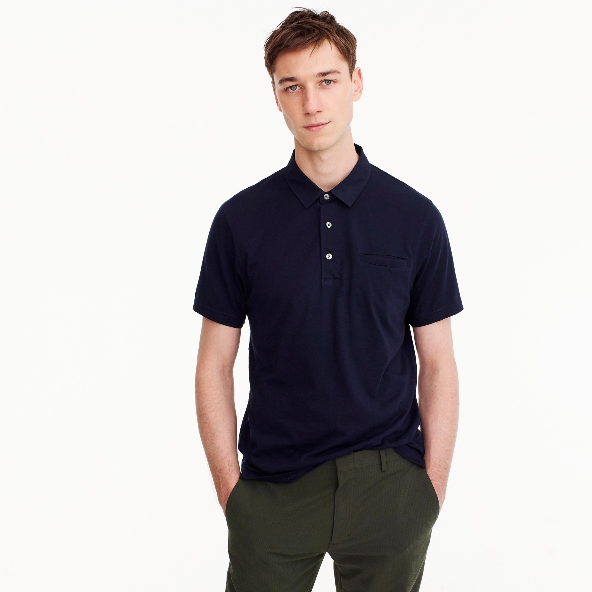 men's woven-collar polo in pima cotton - men's knits