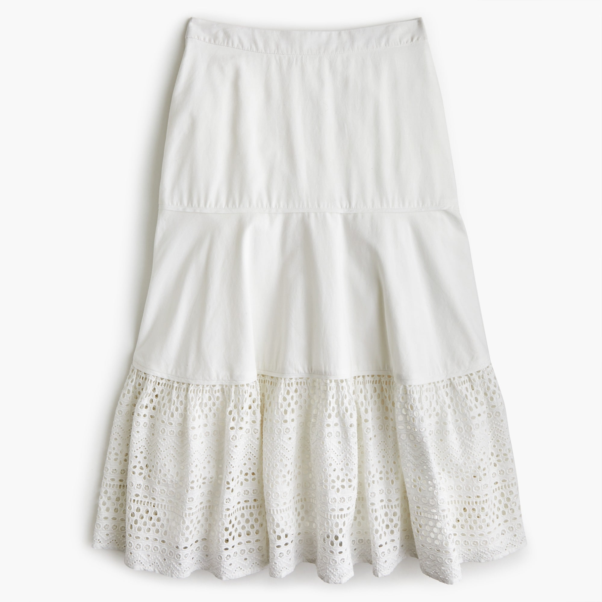 women's petite point sur tiered skirt in mixed eyelet - women's skirts