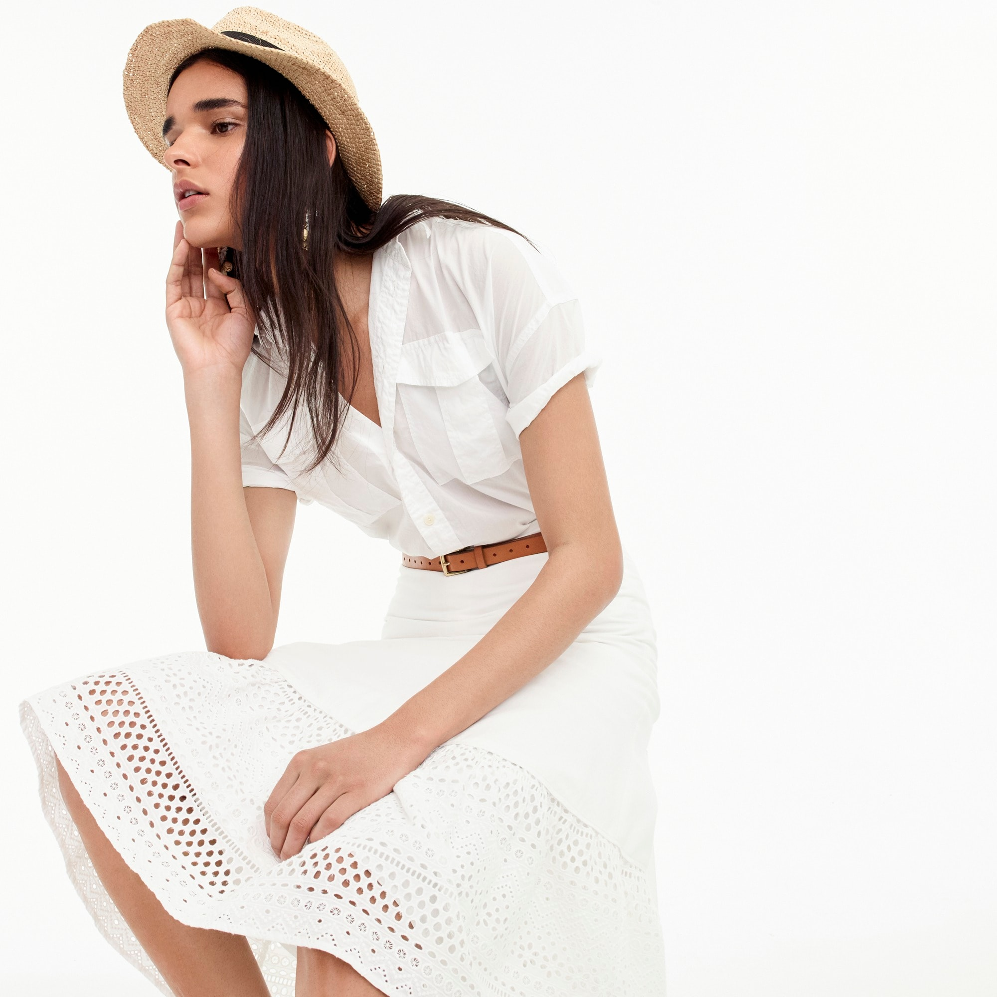 womens Point Sur tiered skirt in mixed eyelet