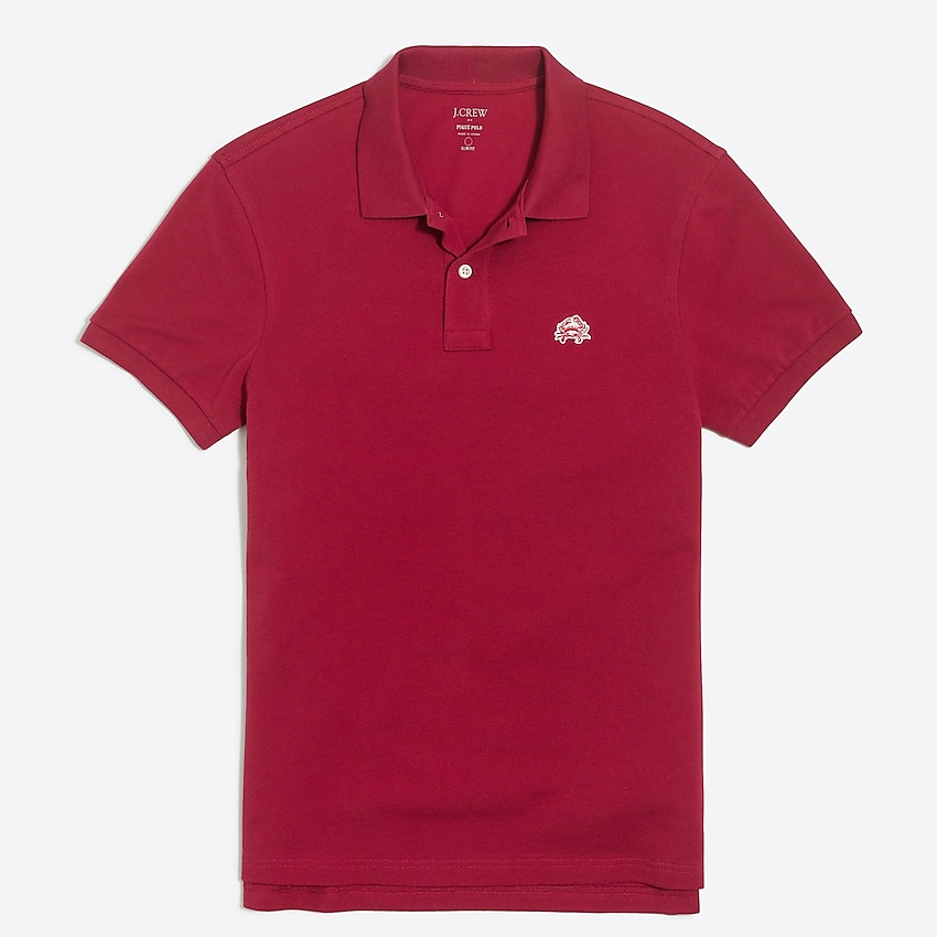 j.crew factory: tall embroidered logo piqué polo shirt for men, right side, view zoomed