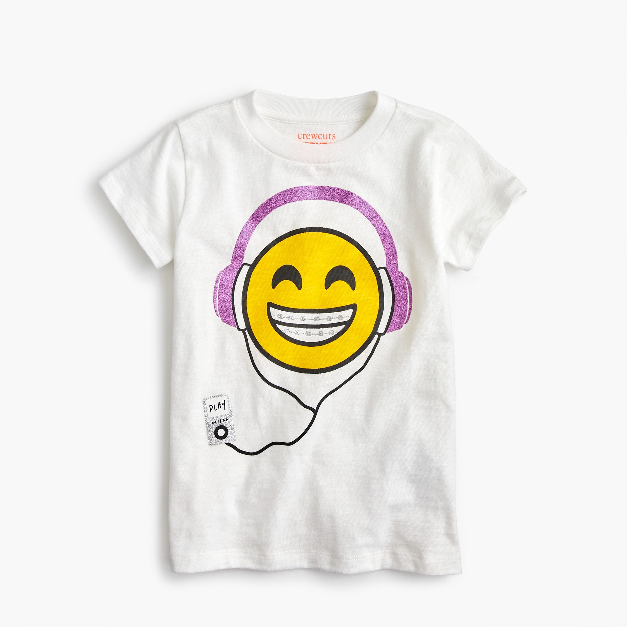 Image 2 for Girls' headphone-wearing emoji T-shirt