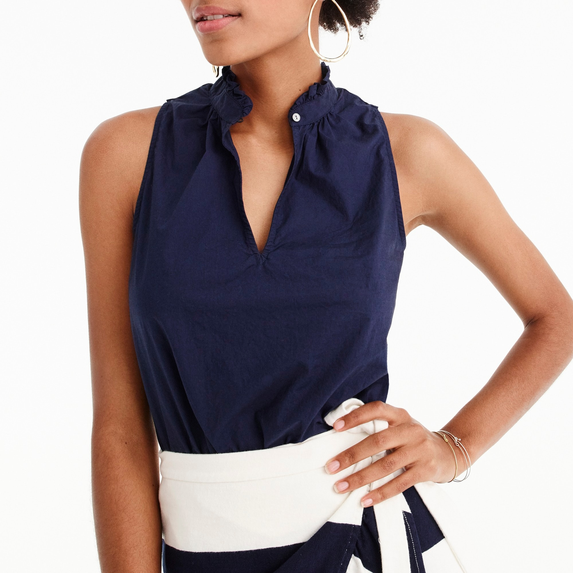 Image 3 for Tall ruffle-neck top in cotton poplin