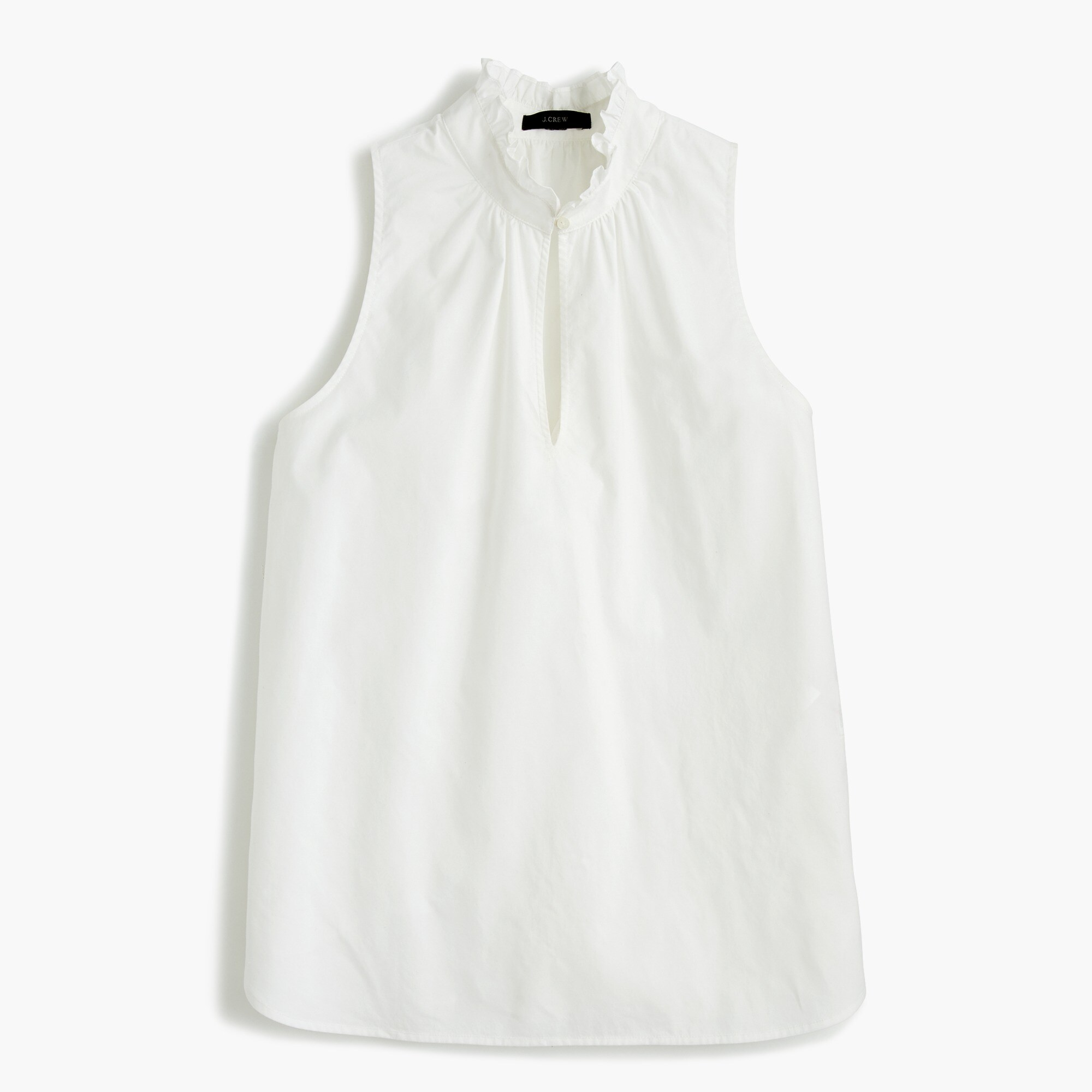 Tall ruffle-neck top in cotton poplin