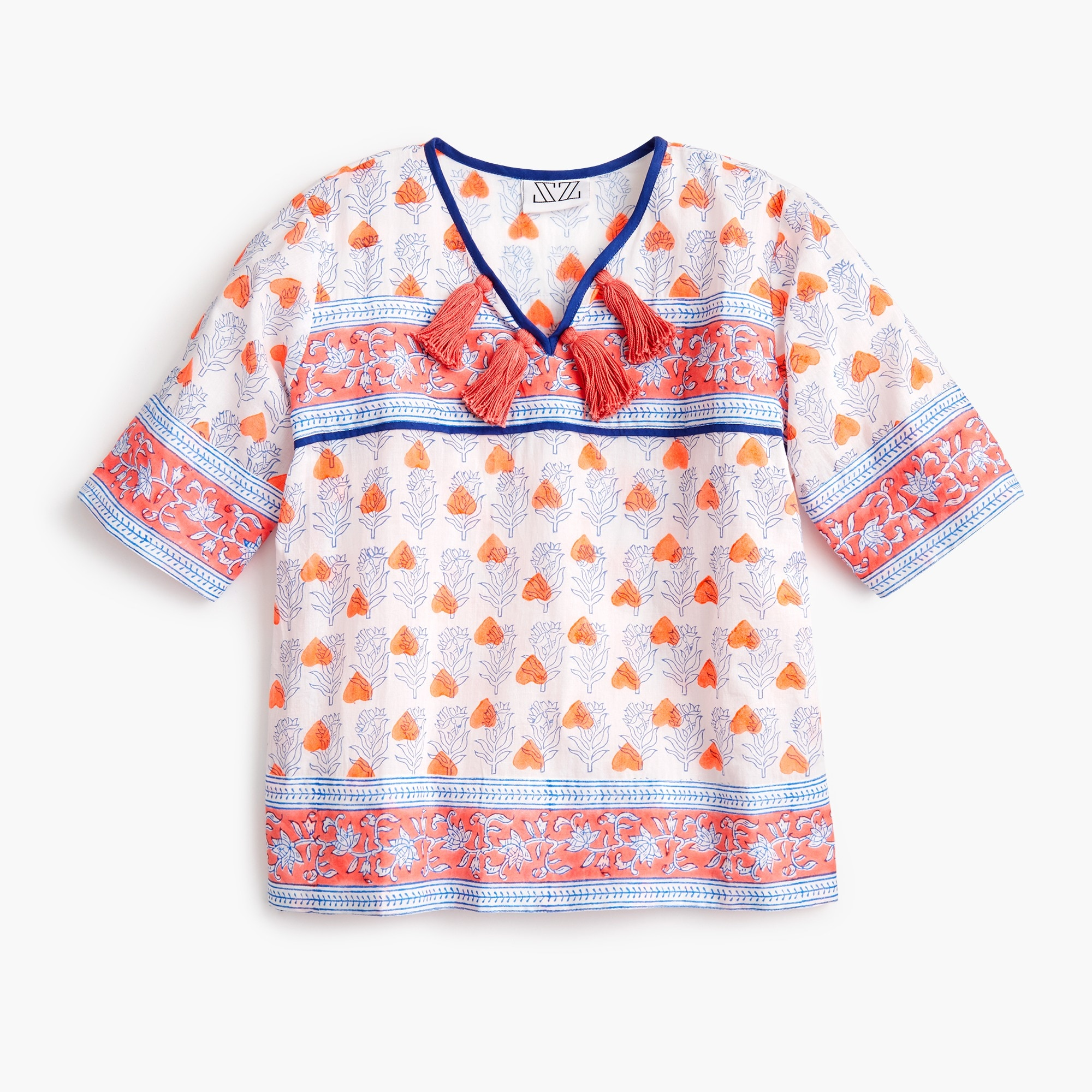 girls Girls' SZ Blockprints™ for crewcuts tassel-trimmed top in orange hearts