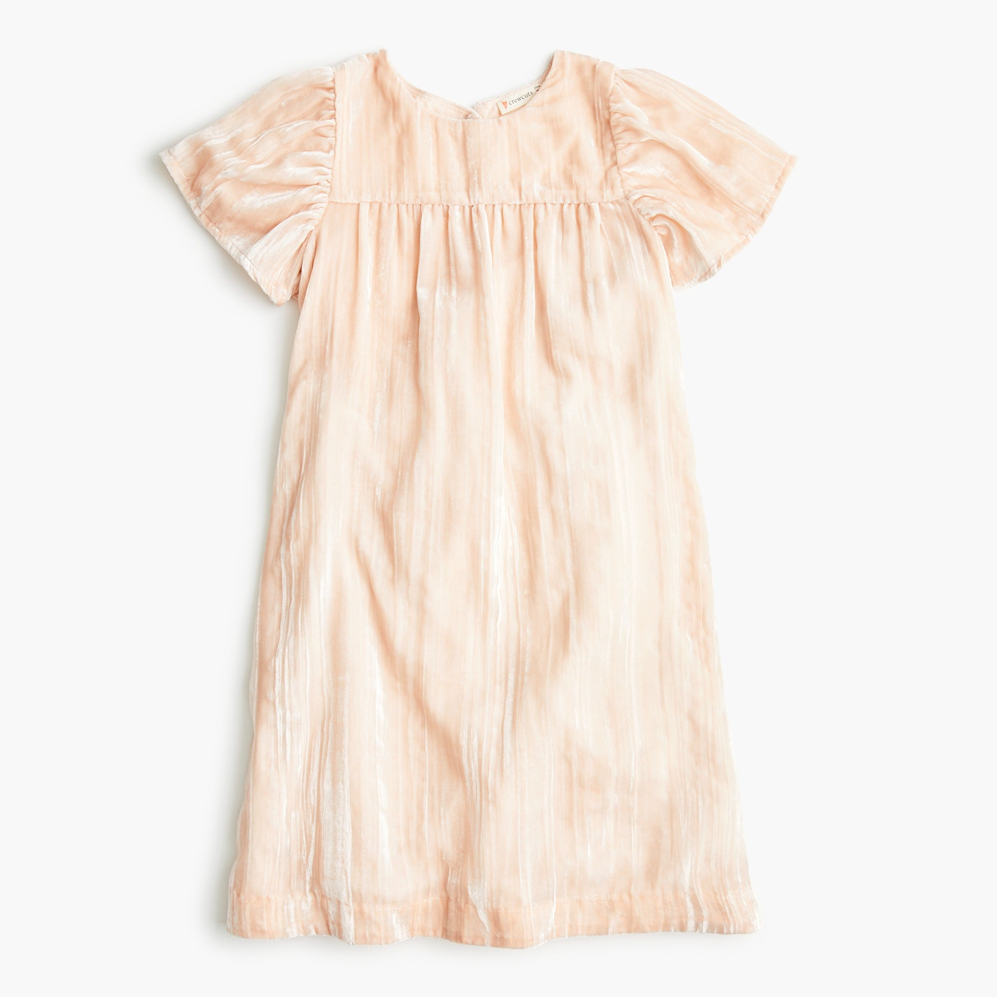 girls Girls' flutter-sleeved dress in crushed velvet